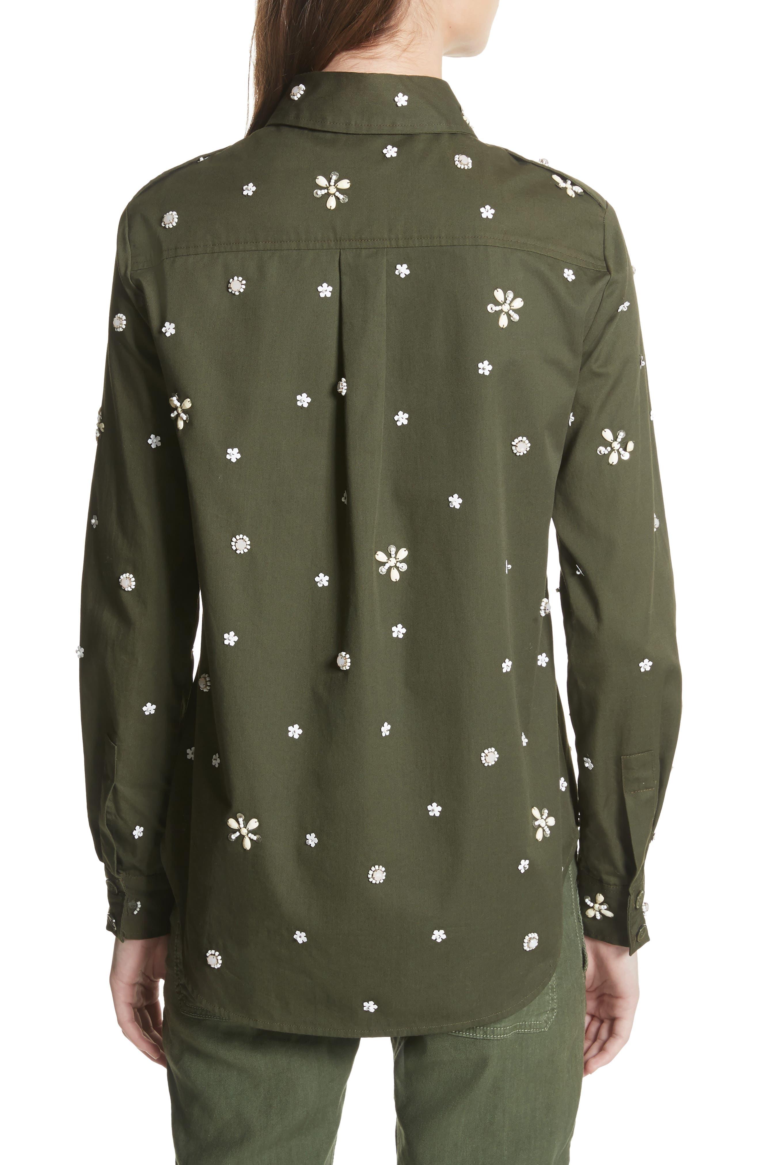 Hayfa Embellished Shirt,                             Alternate thumbnail 2, color,                             Deep Army