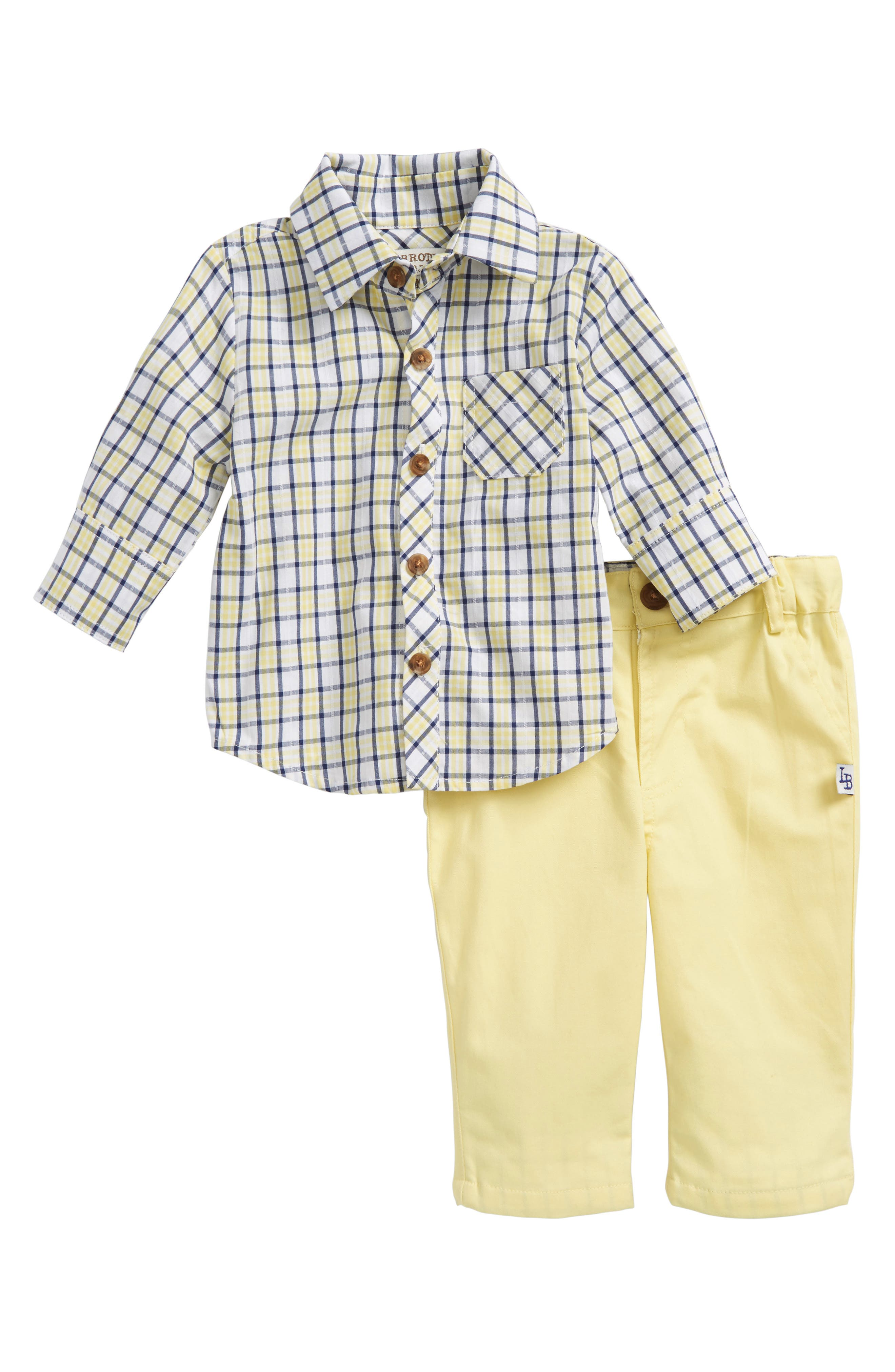Plaid Top & Pants Set,                             Main thumbnail 1, color,                             Yellow/ Blue