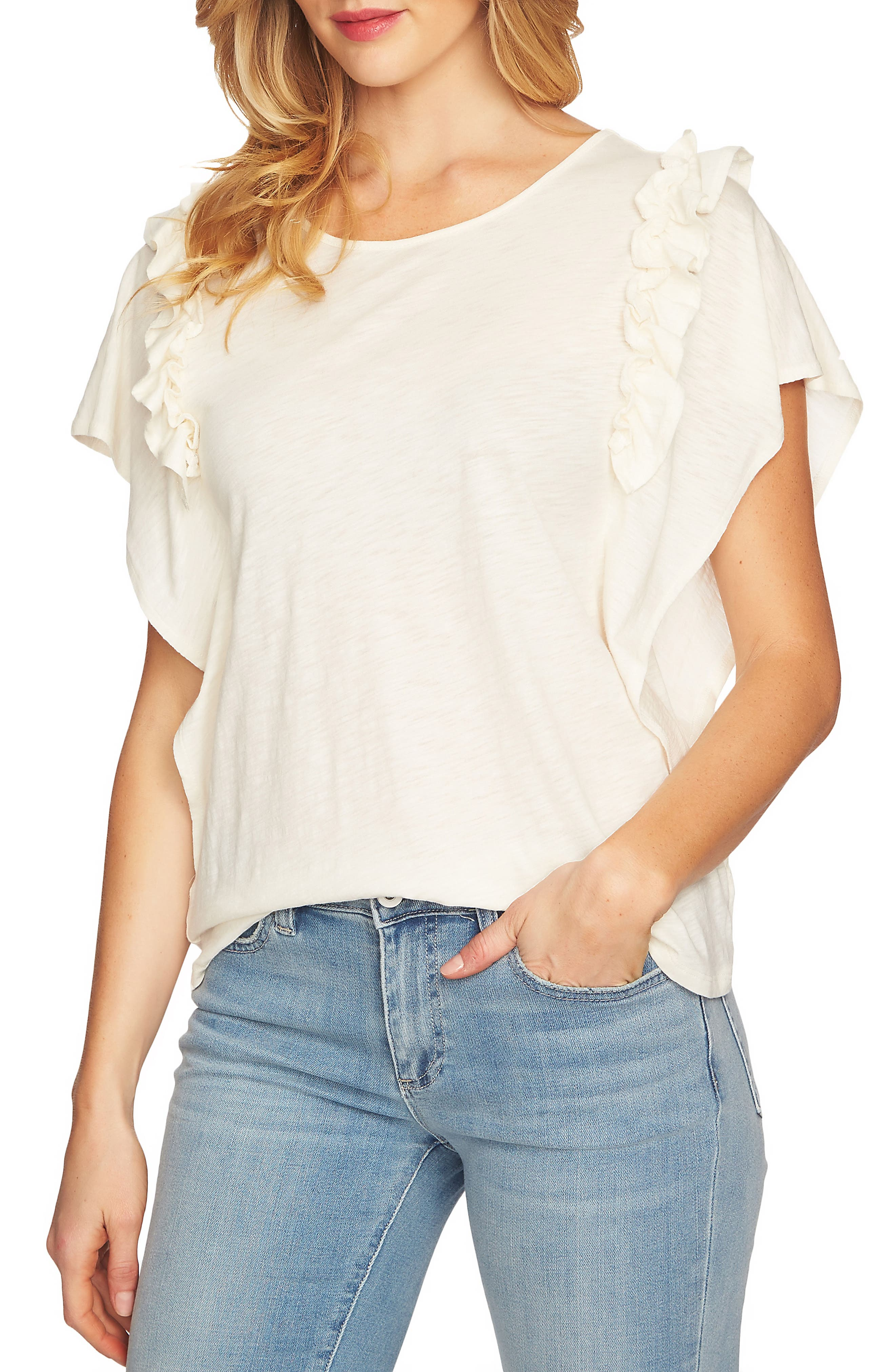 Ruffle Sleeve Top,                             Main thumbnail 1, color,                             Antique White