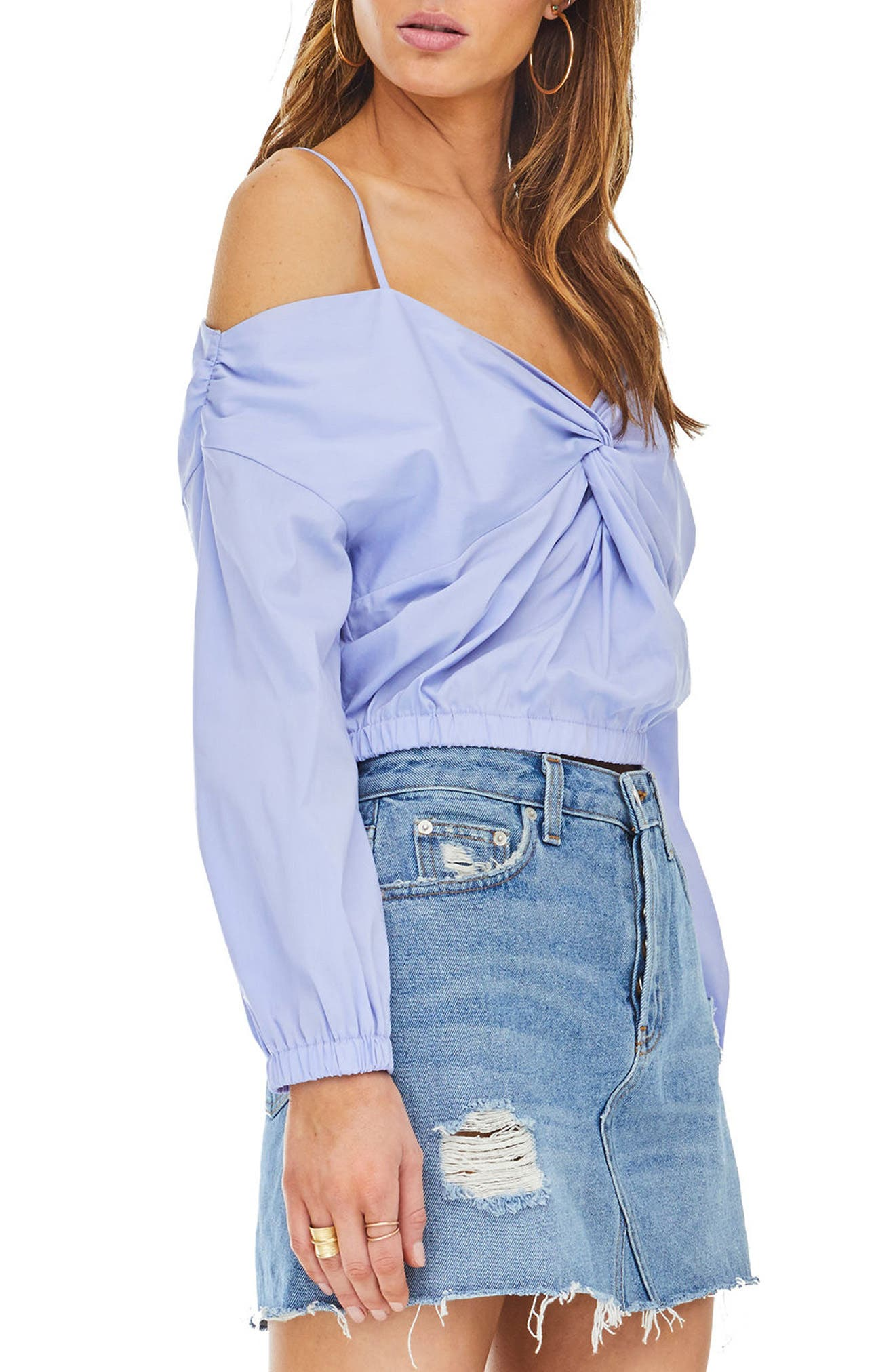 Raegan Off the Shoulder Top,                             Alternate thumbnail 4, color,                             Cotton Blue