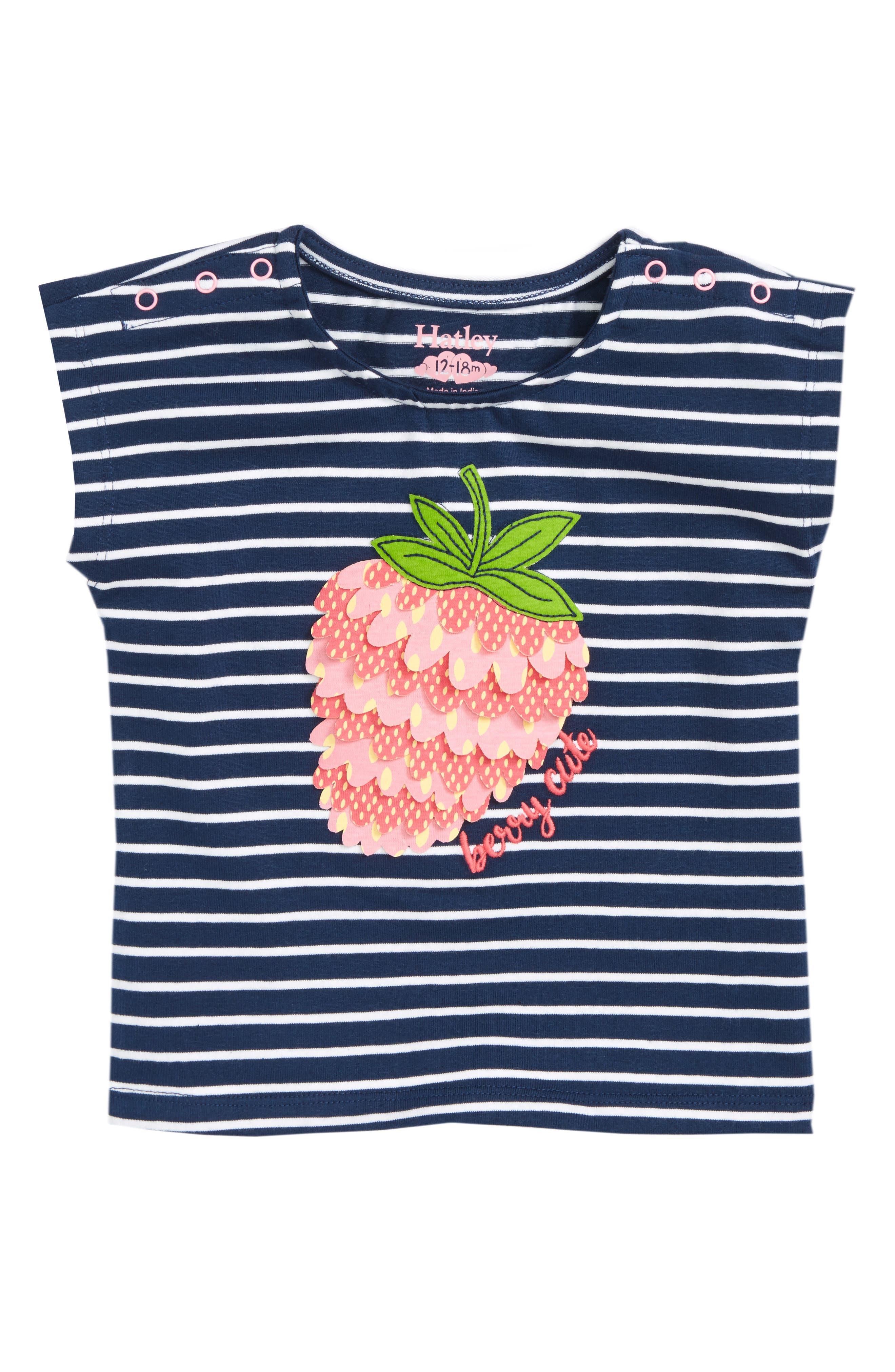Berry Cute Stripe Tee,                             Main thumbnail 1, color,                             Berry Stripe