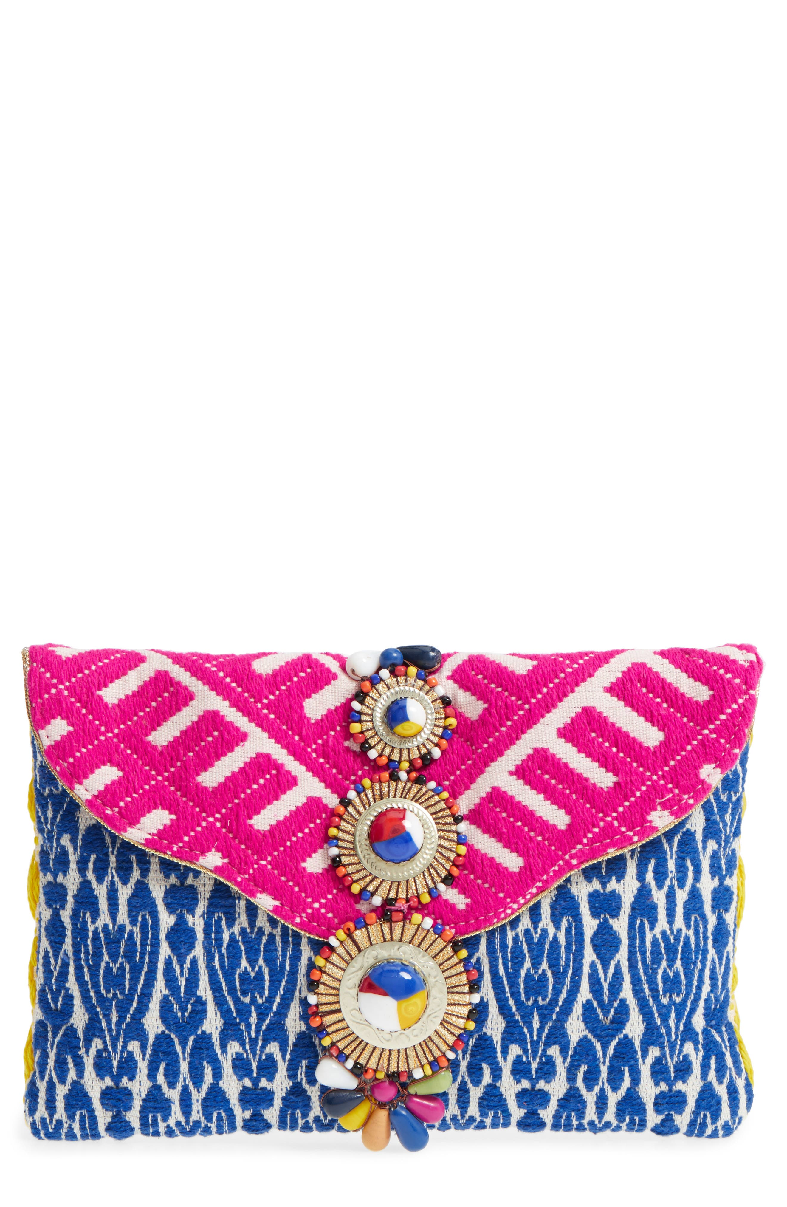 Alternate Image 1 Selected - Steven by Steve Madden Beaded & Embroidered Clutch