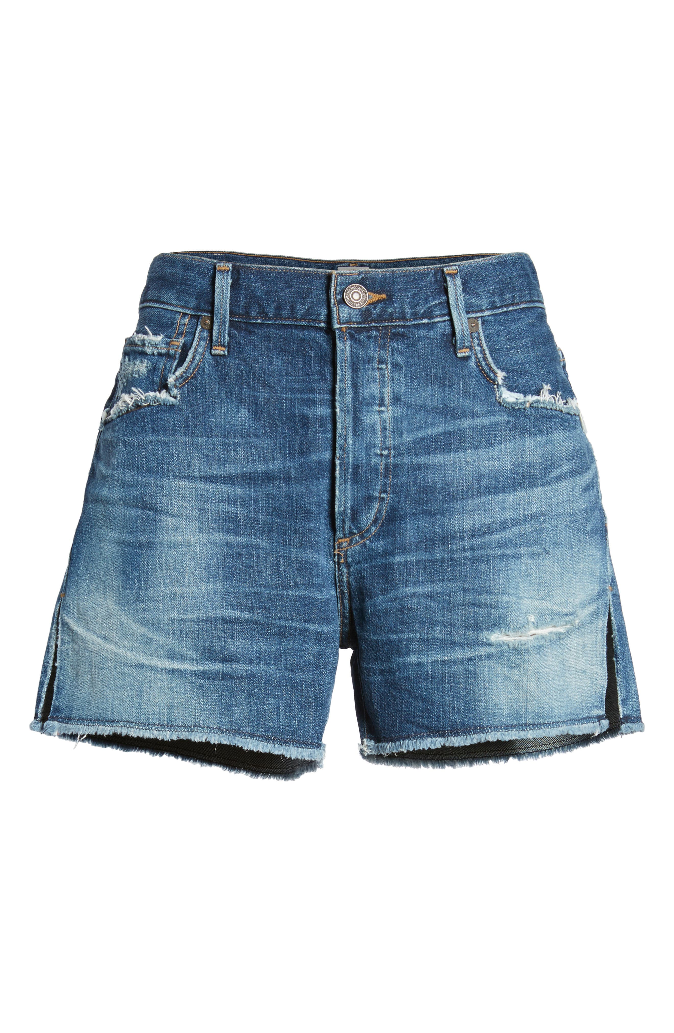 Corey Distressed Slouchy Denim Shorts,                             Alternate thumbnail 7, color,                             Ombre