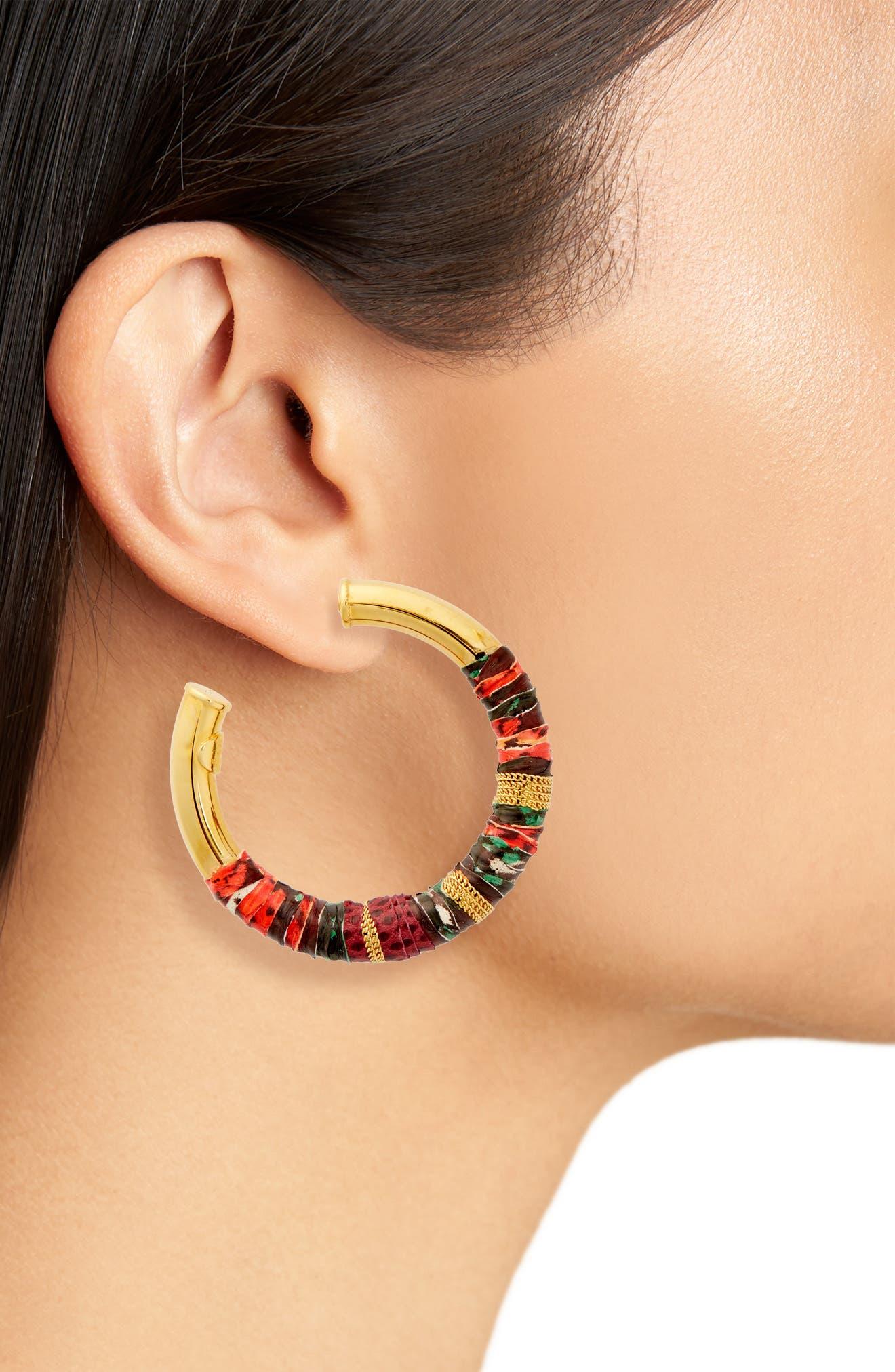 Alternate Image 2  - Gas Bijoux Wrapped Hoop Earrings