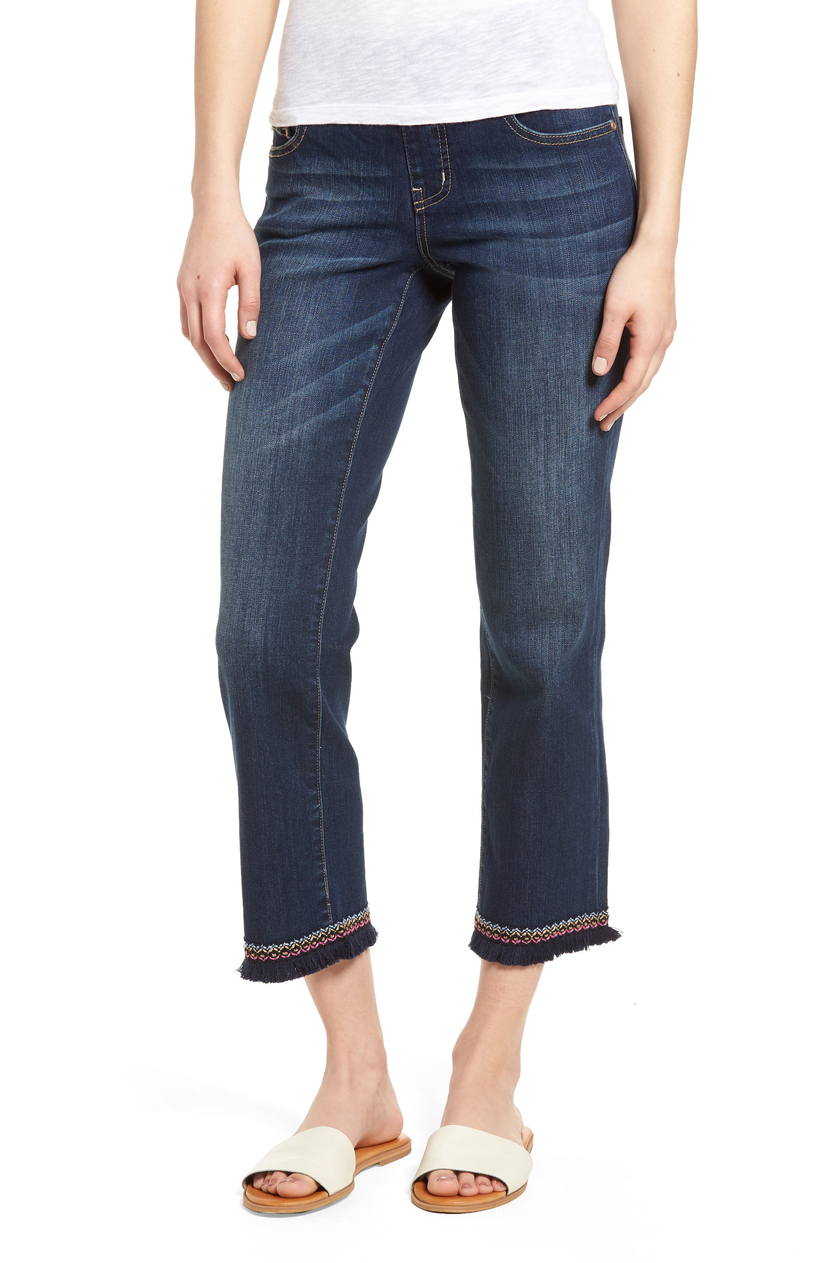 Peri Embroidery Fringe Jeans,                             Main thumbnail 1, color,                             Med Indigo