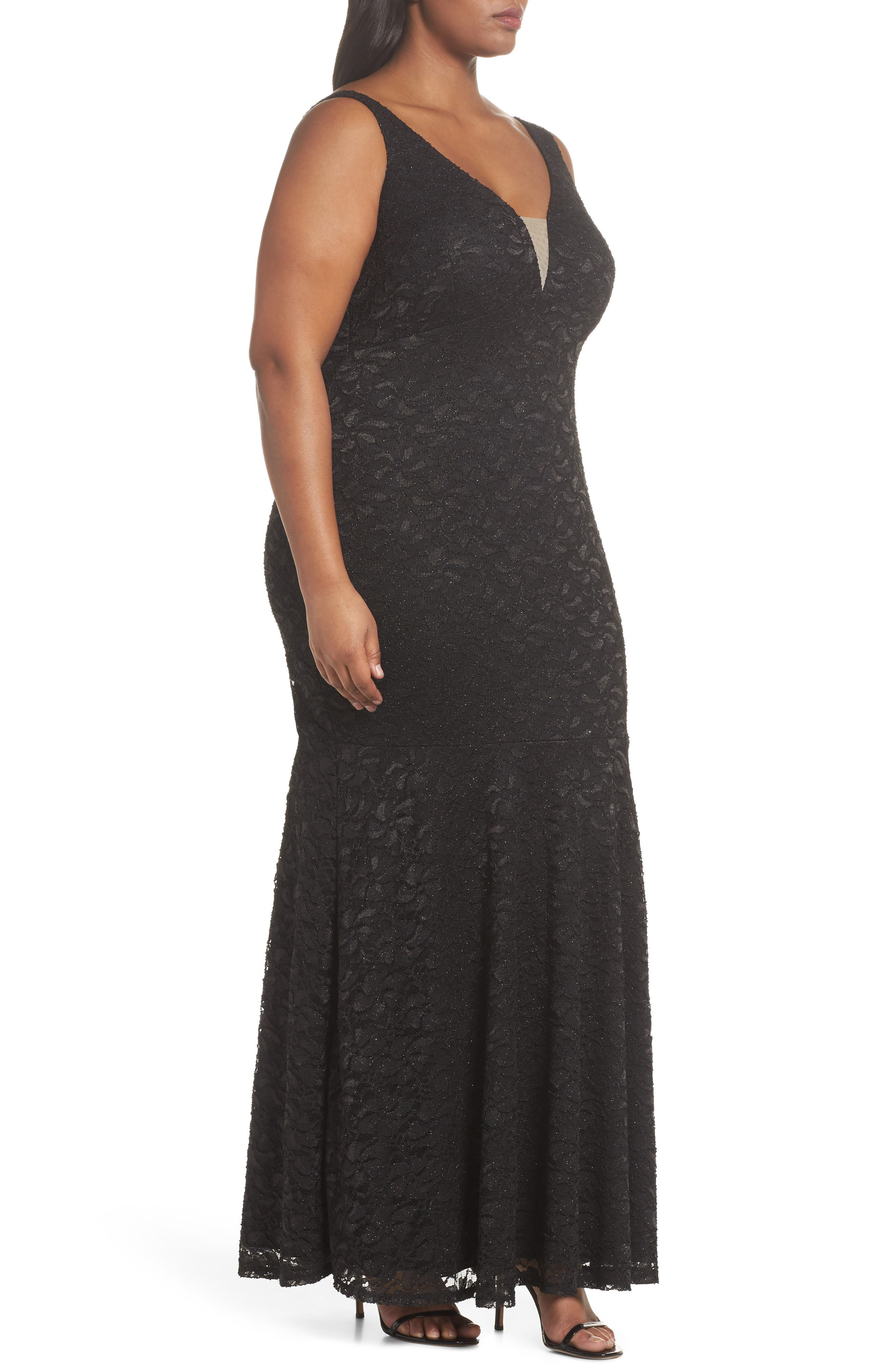 Plunge Lace Trumpet Gown,                             Alternate thumbnail 3, color,                             Black