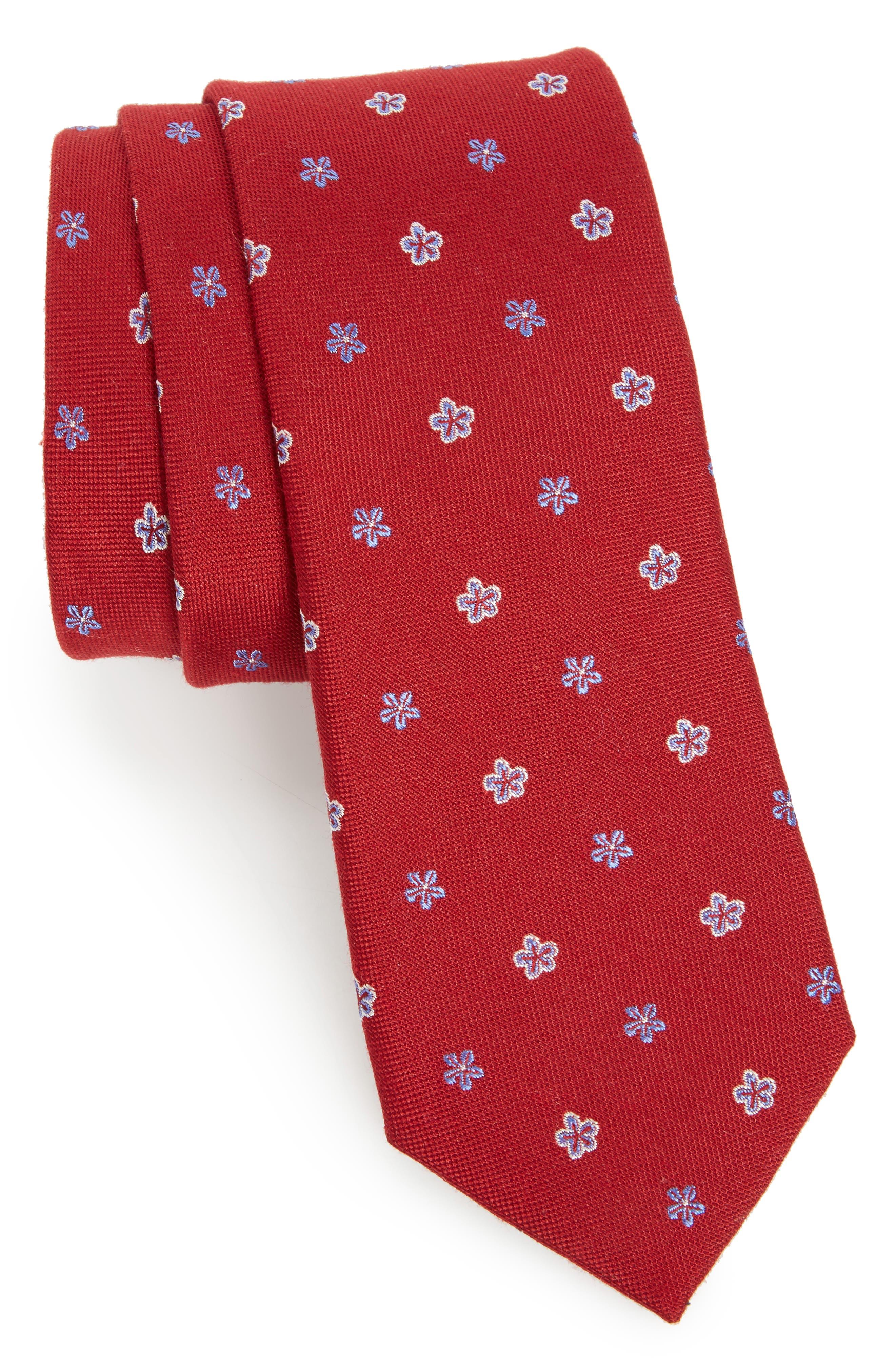 Essex Floral Silk Blend Tie,                             Main thumbnail 1, color,                             Burgundy