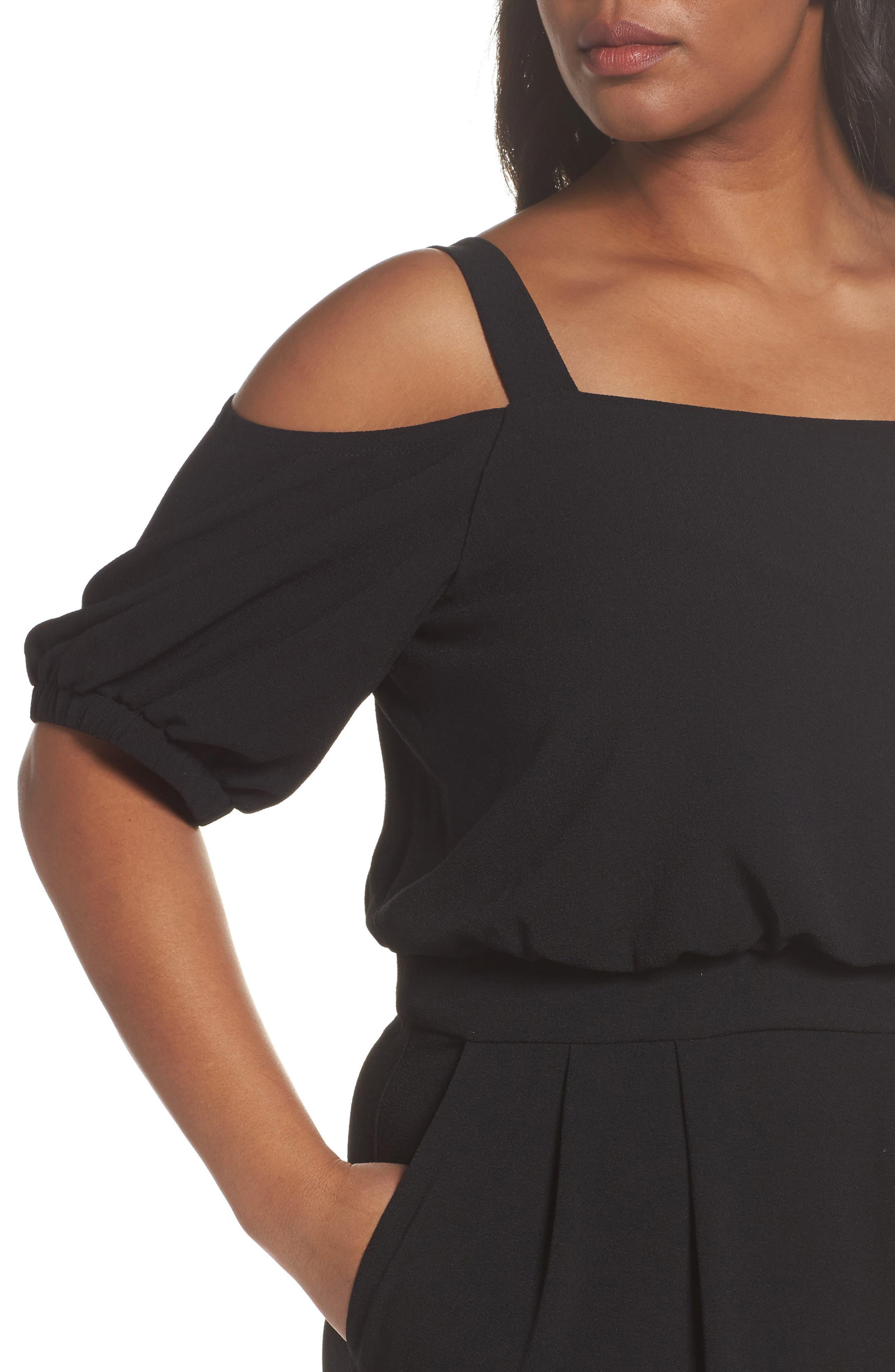 Off the Shoulder Blouson Jumpsuit,                             Alternate thumbnail 4, color,                             Black
