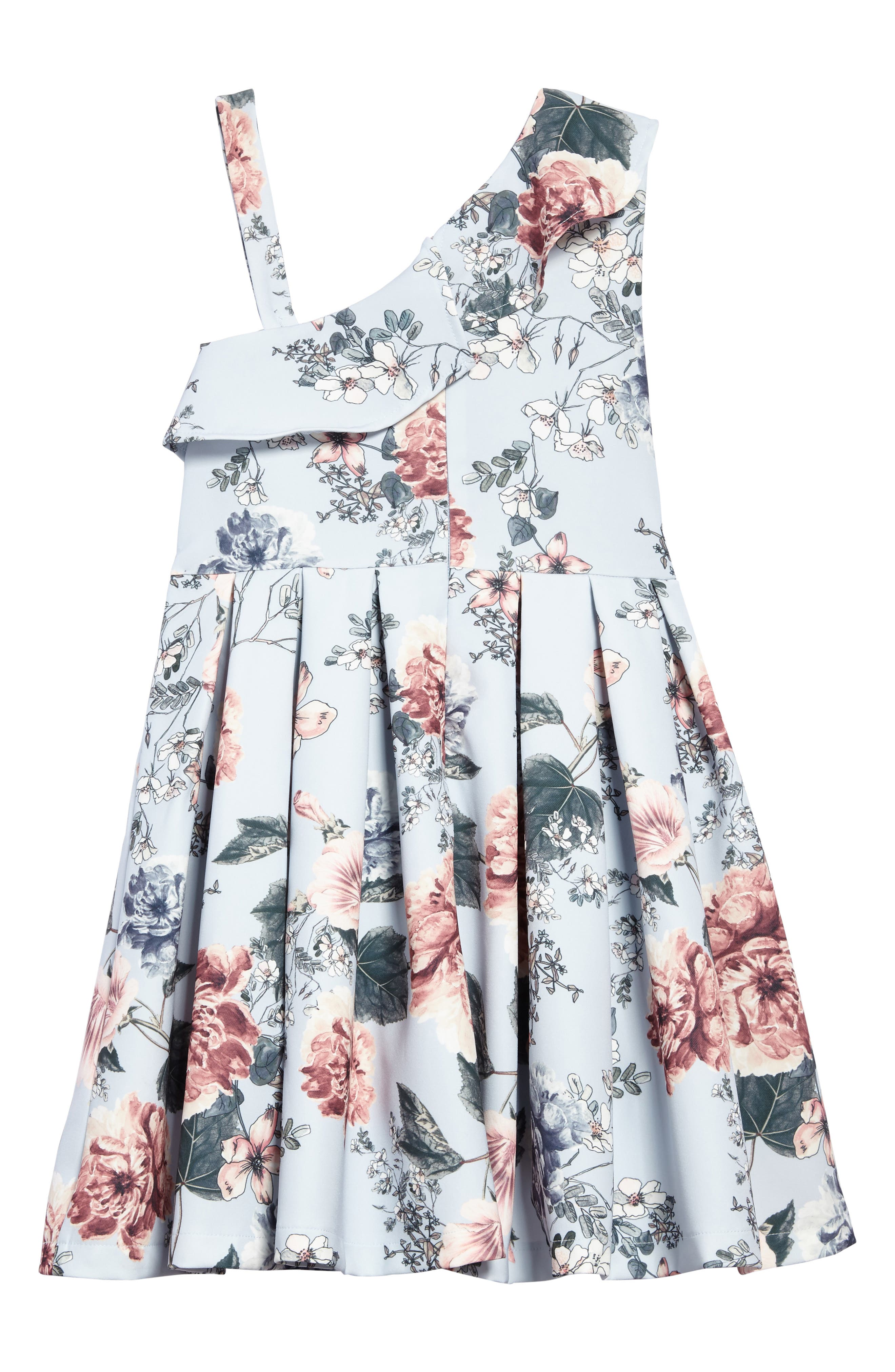 Ebony Floral Ruffle Dress,                             Alternate thumbnail 2, color,                             Light Blue Floral