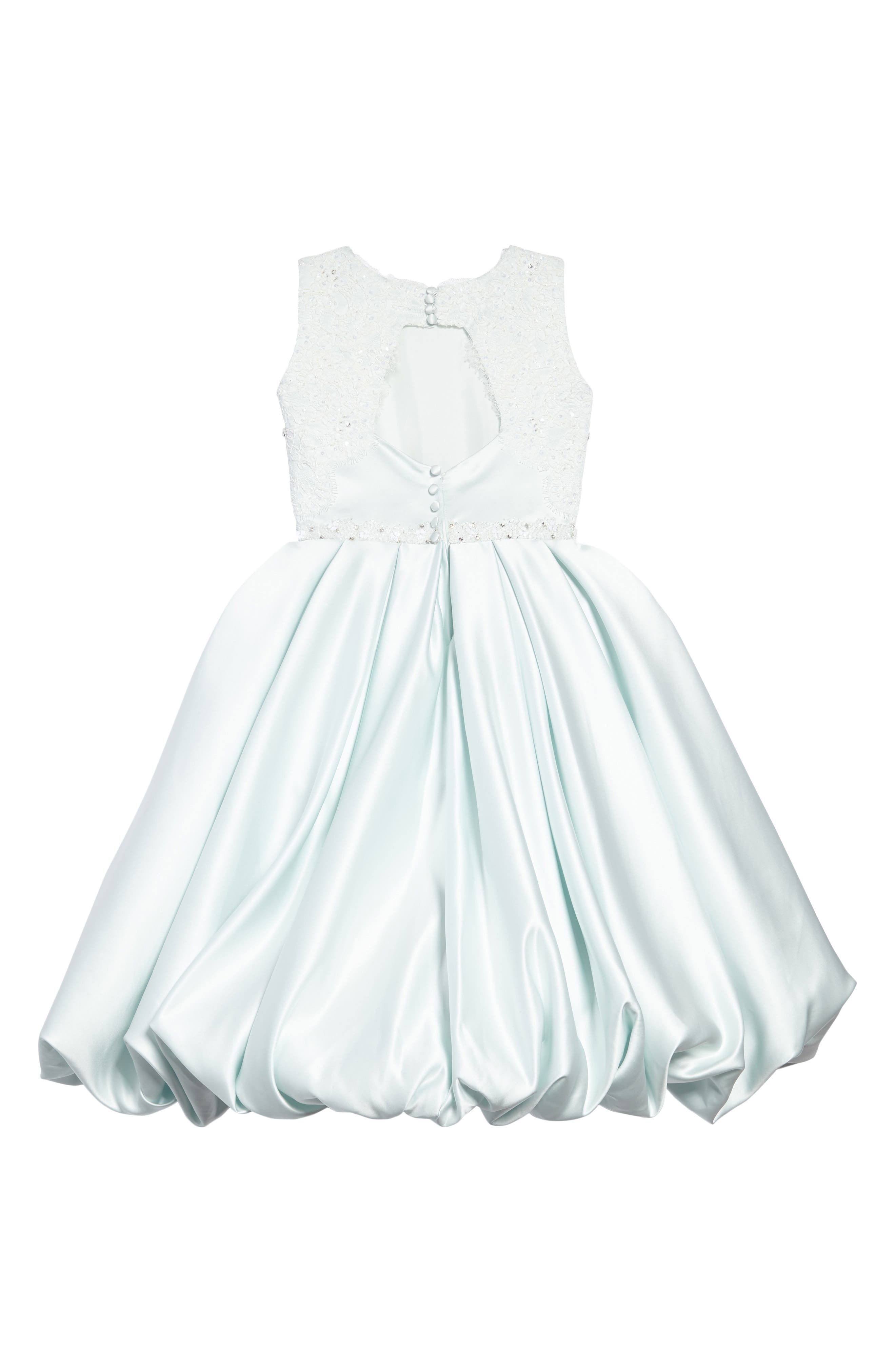 Beaded Lace & Satin First Communion Dress,                             Alternate thumbnail 2, color,                             Mist/ Ivory