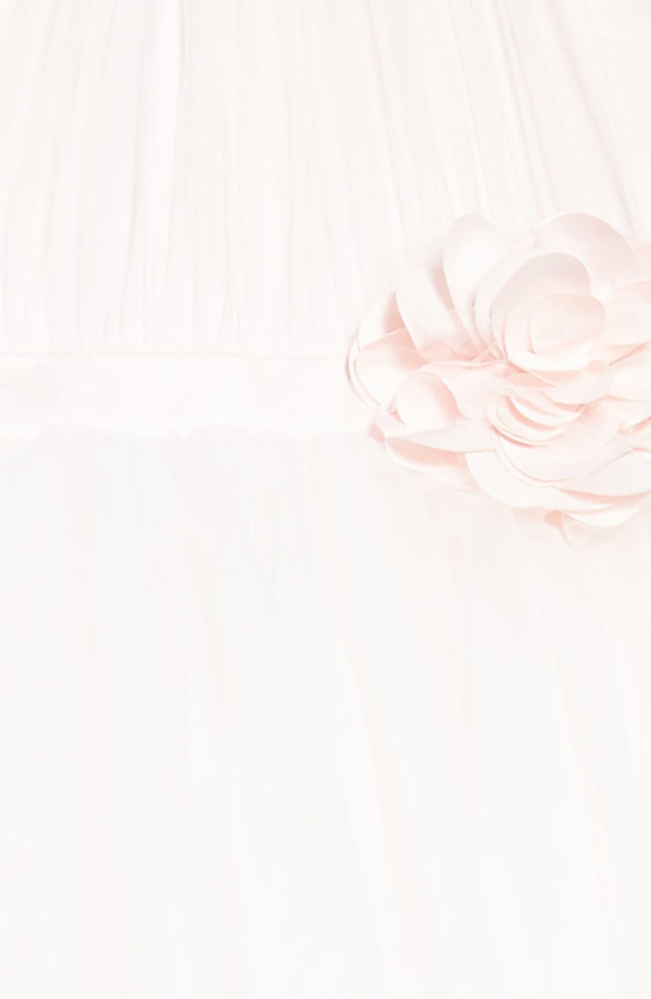 Satin & Tulle Mock Halter Dress,                             Alternate thumbnail 3, color,                             Ivory/ Light Pink