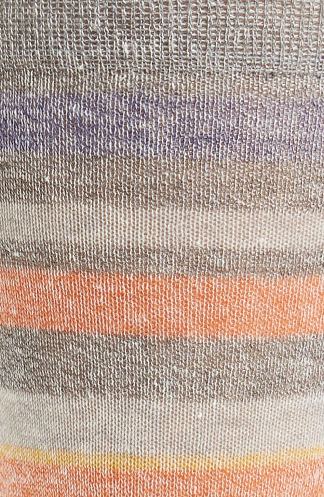 Stripe Linen Blend Socks,                             Alternate thumbnail 2, color,                             Medium Grey