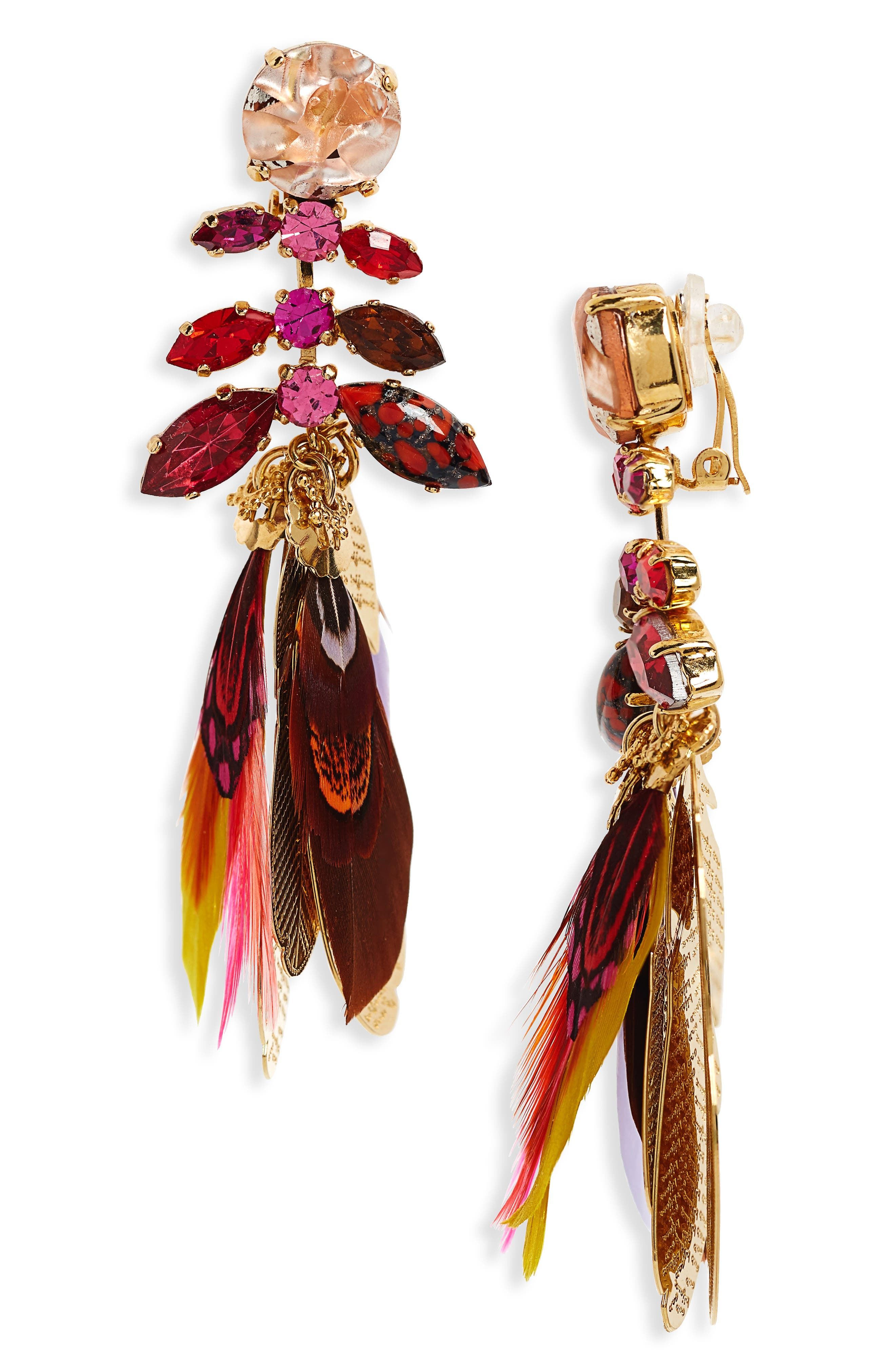 Cabaret Clip-On Feather Drop Earrings,                             Main thumbnail 1, color,                             Red Multi