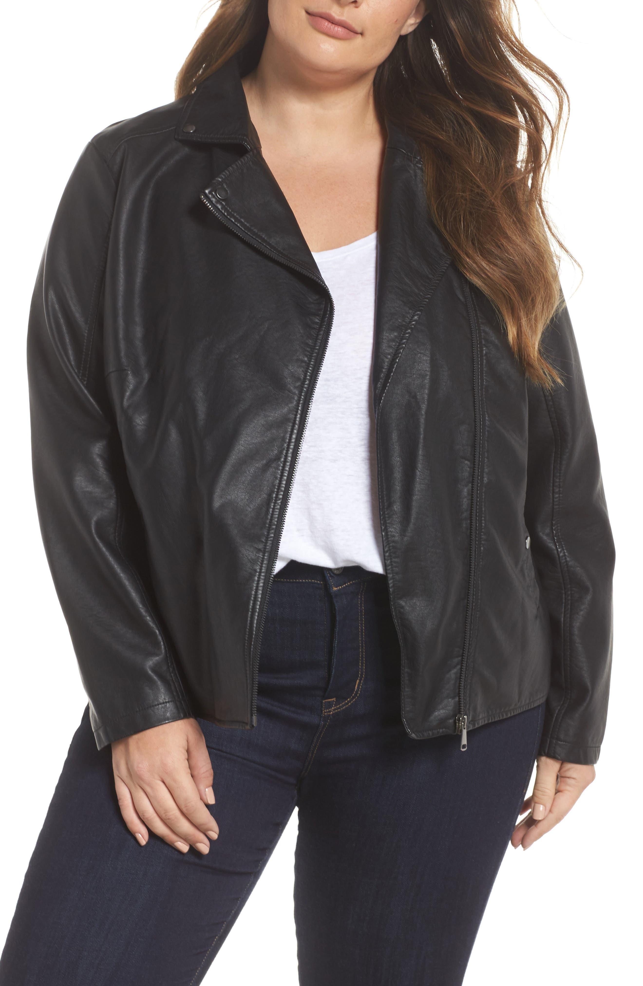 Main Image - JUNAROSE Karisa Faux Leather Moto Jacket (Plus Size)