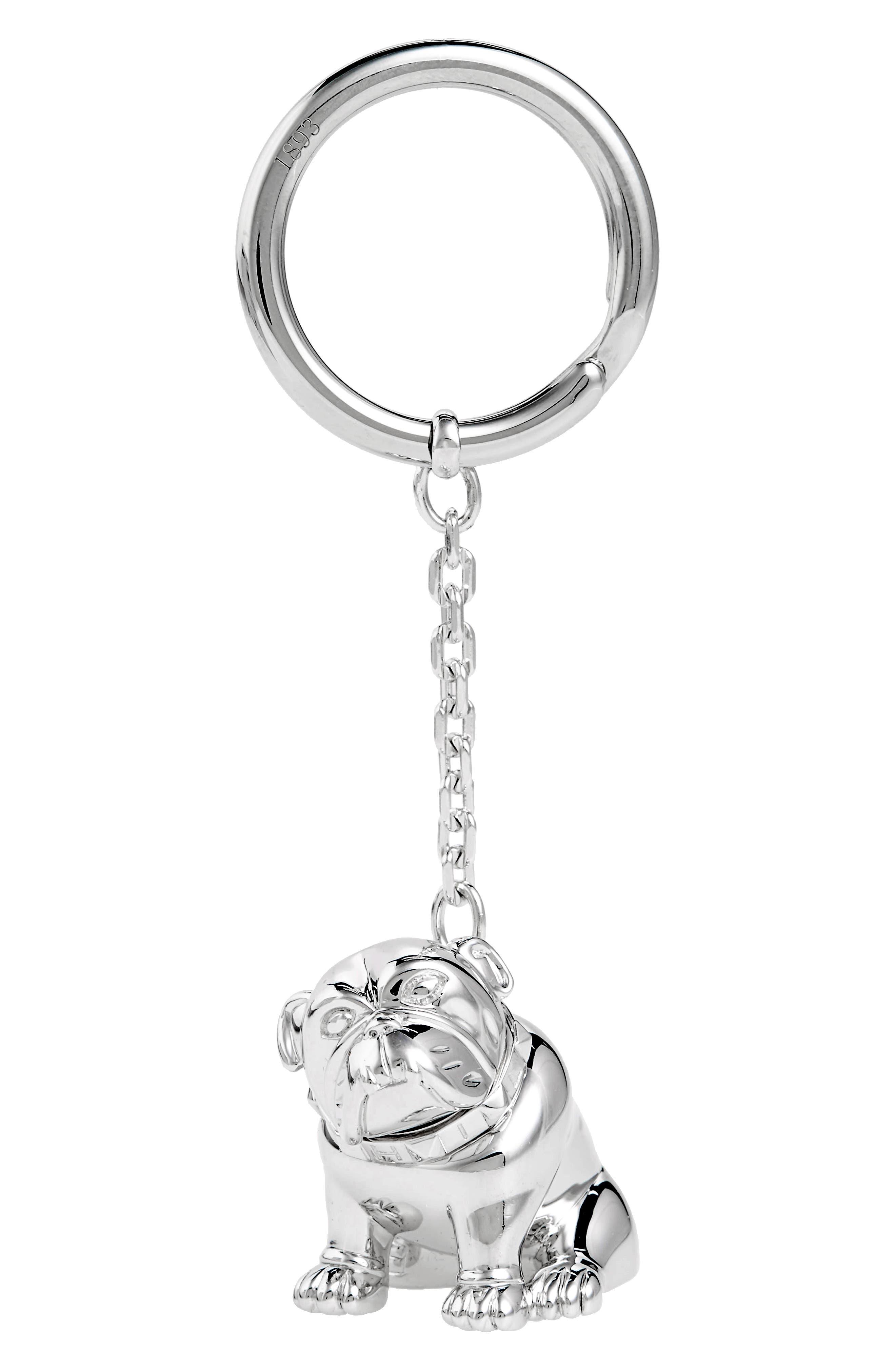 Bulldog Key Ring,                         Main,                         color, Silver