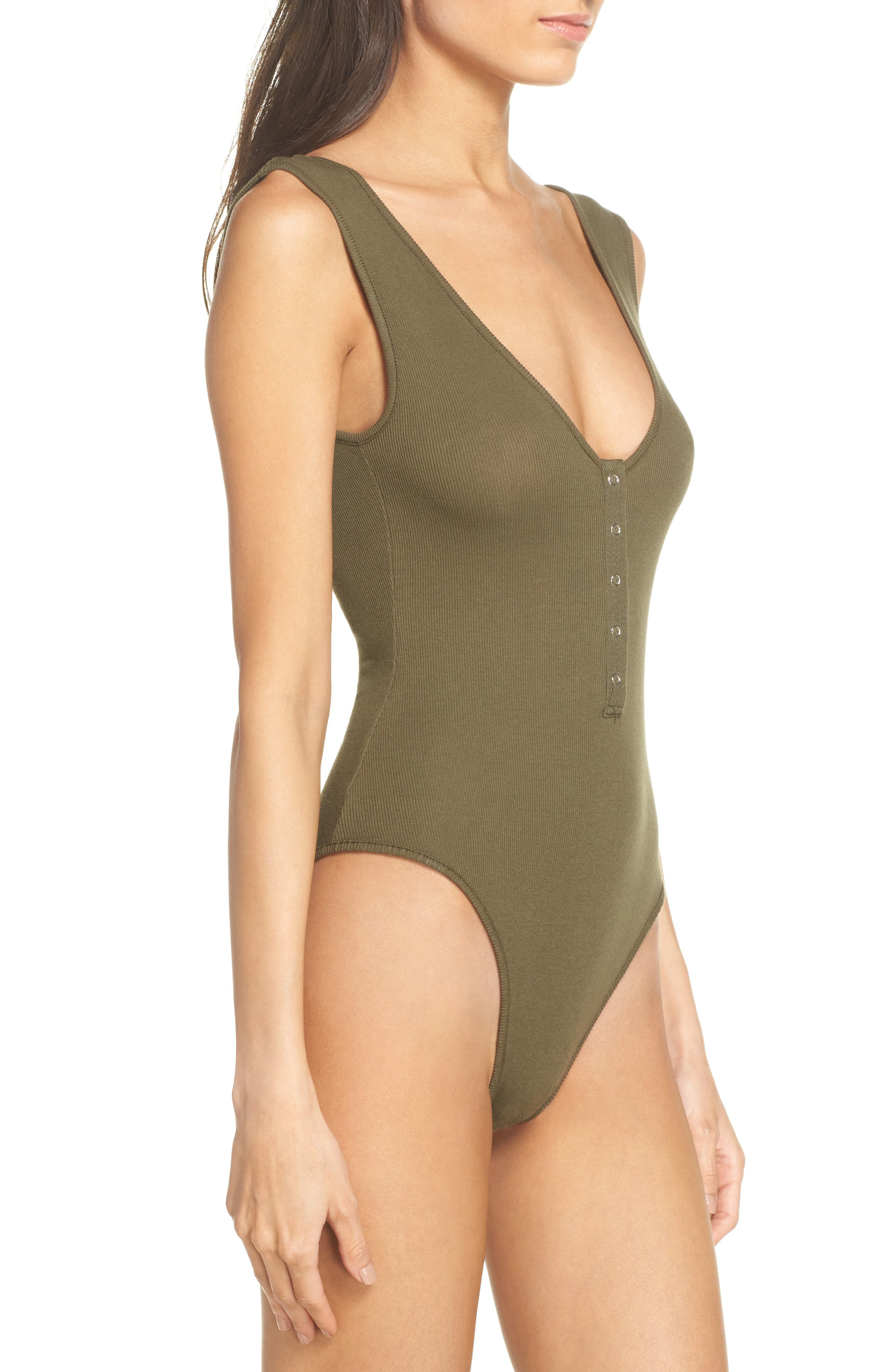 Intimately FP Tank Bodysuit,                             Alternate thumbnail 3, color,                             Army