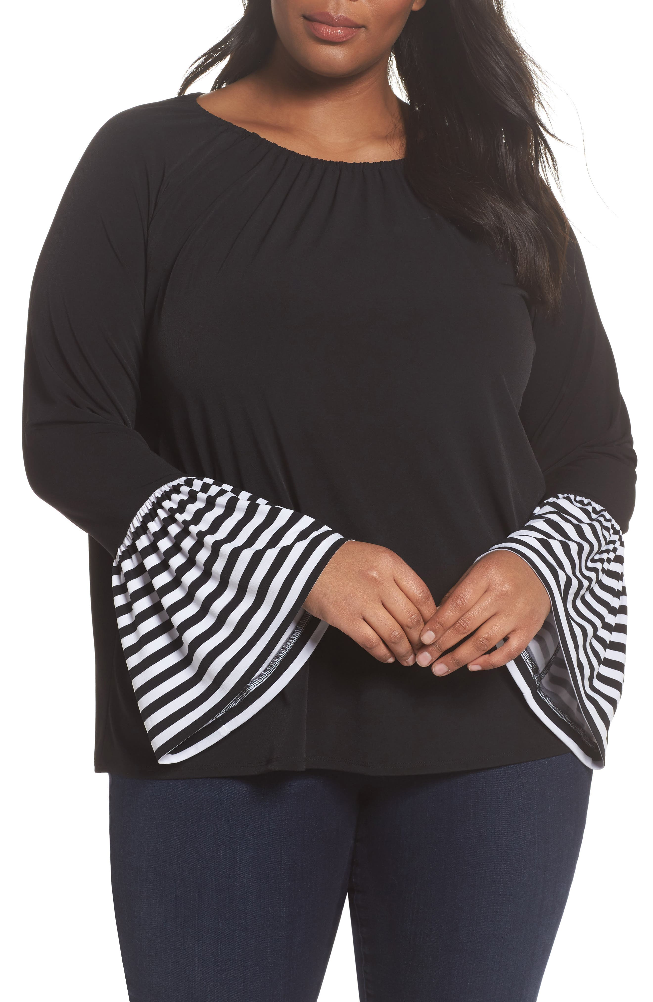 Stripe Bell Sleeve Top,                             Main thumbnail 1, color,                             Black