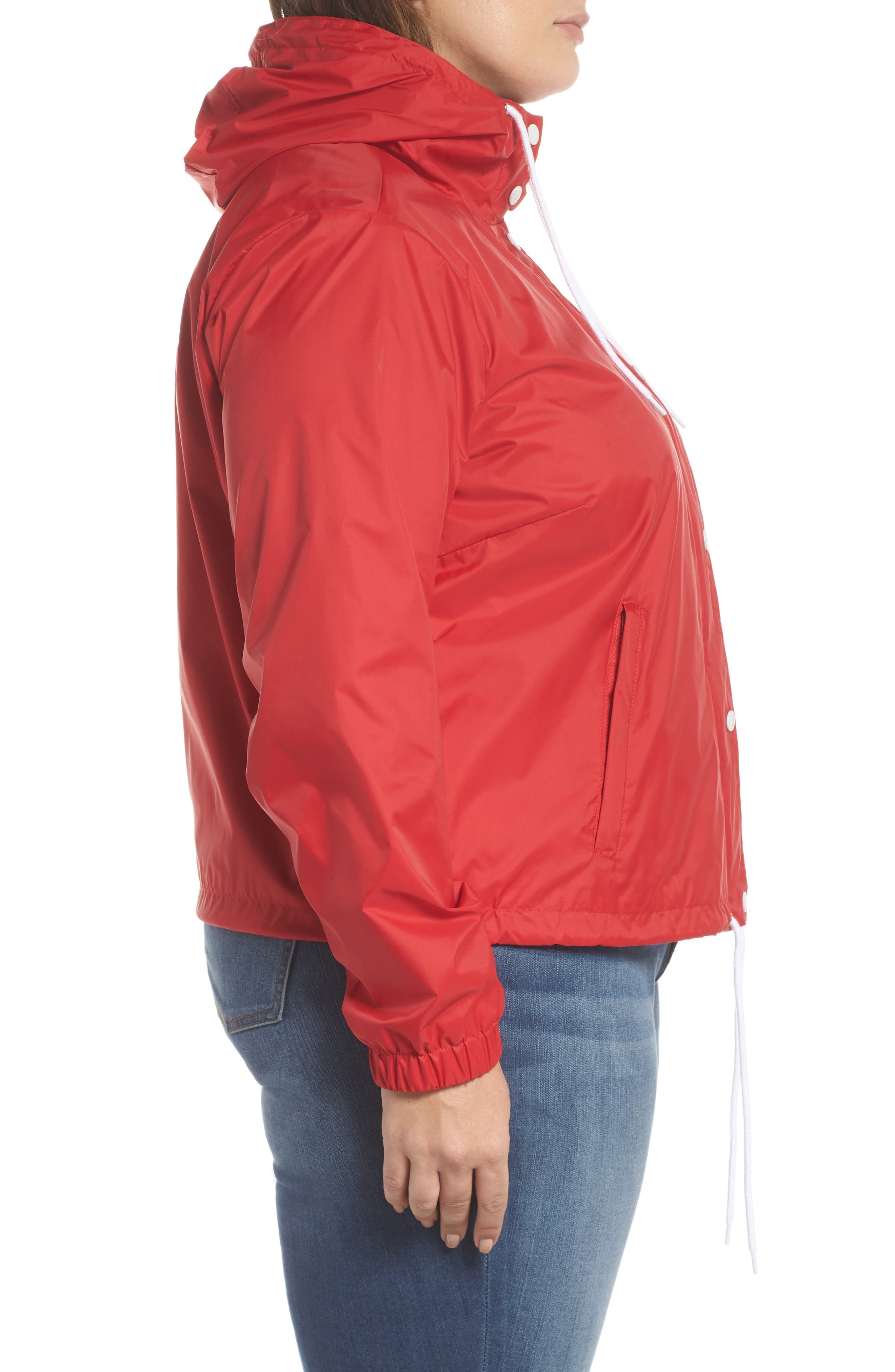 Retro Hooded Coach's Jacket,                             Alternate thumbnail 3, color,                             Red