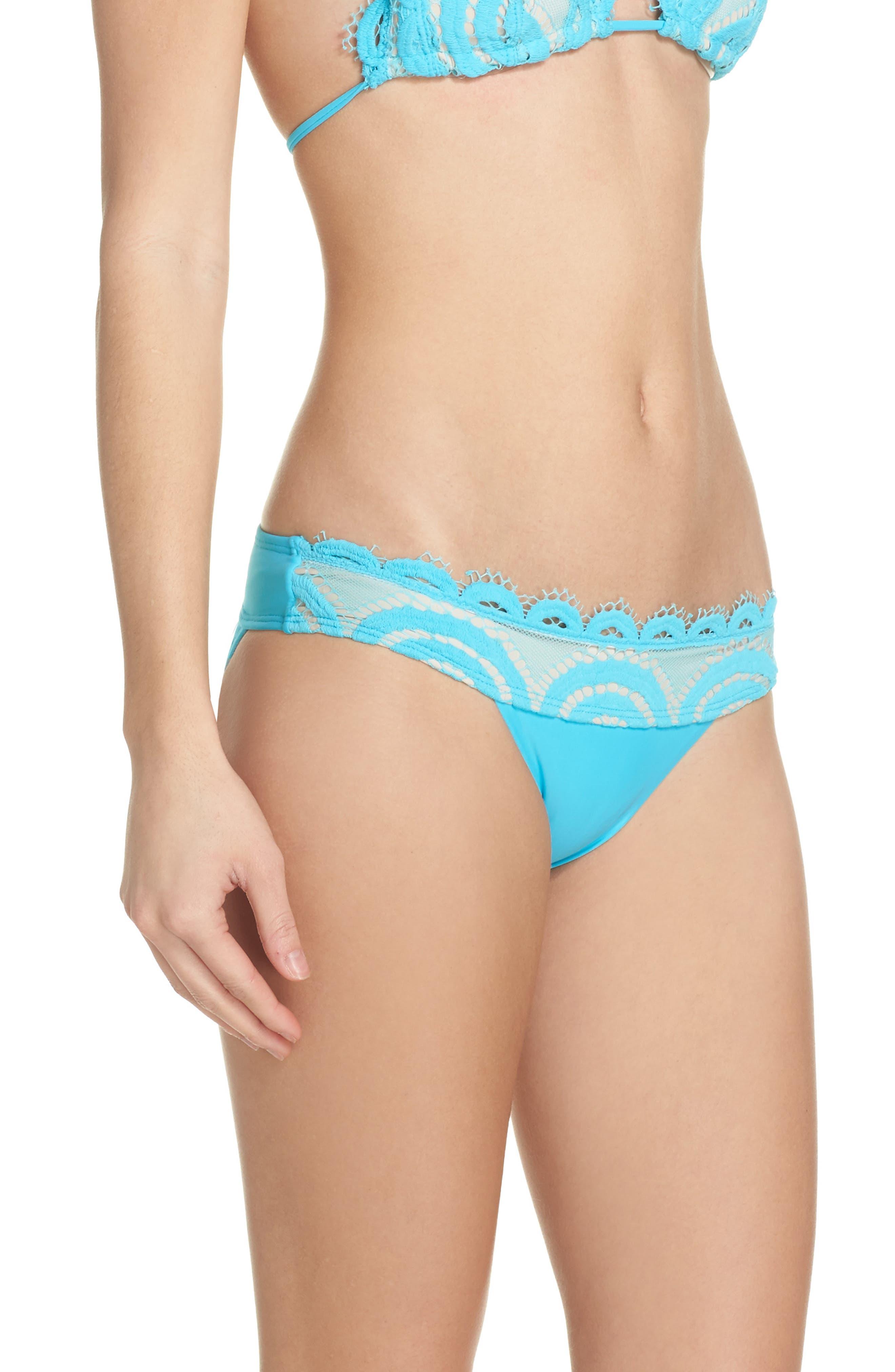 Banded Lace Bikini Bottoms,                             Alternate thumbnail 3, color,                             Marine