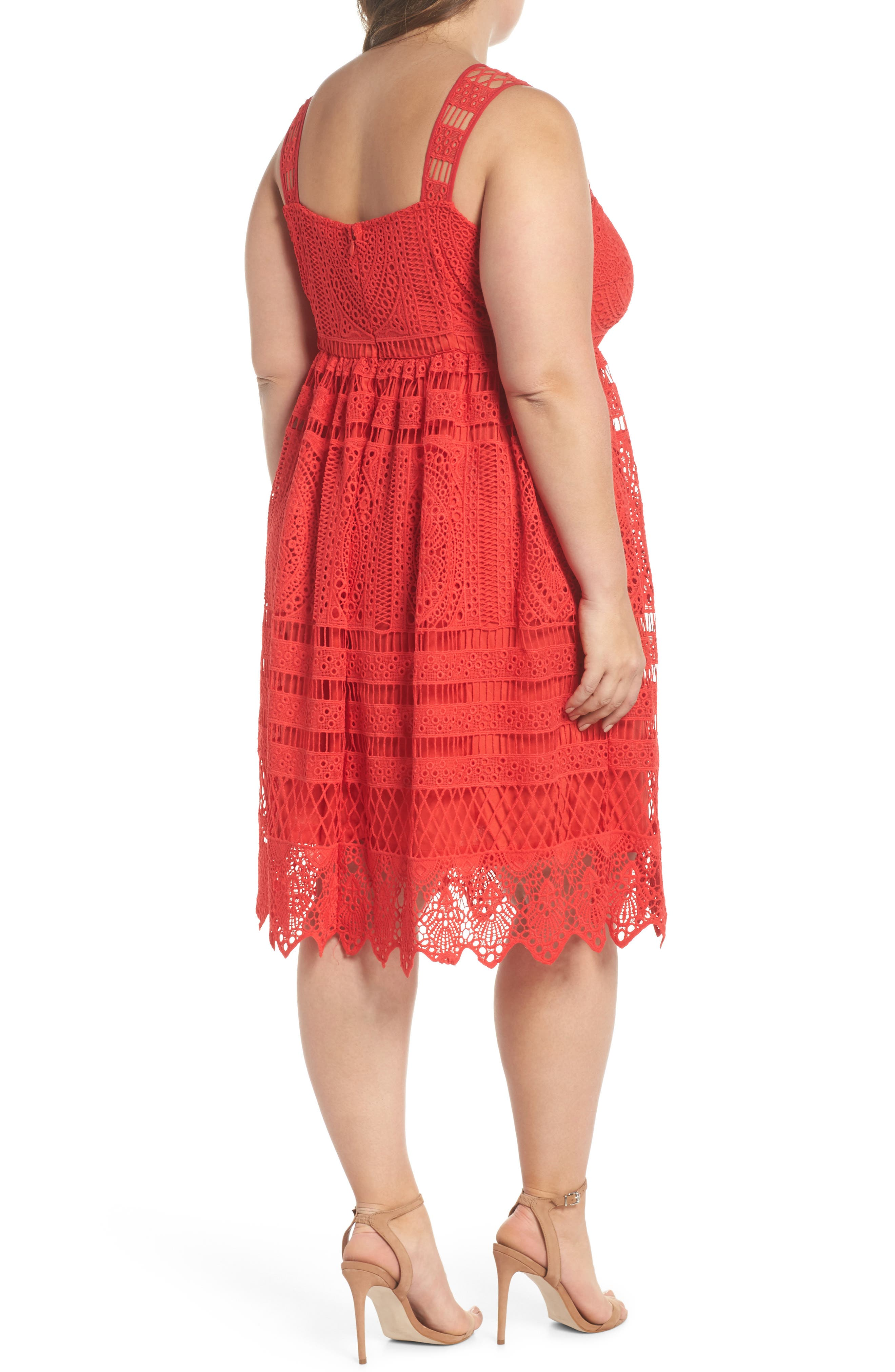 Eyelet Lace Fit & Flare Dress,                             Alternate thumbnail 2, color,                             Red