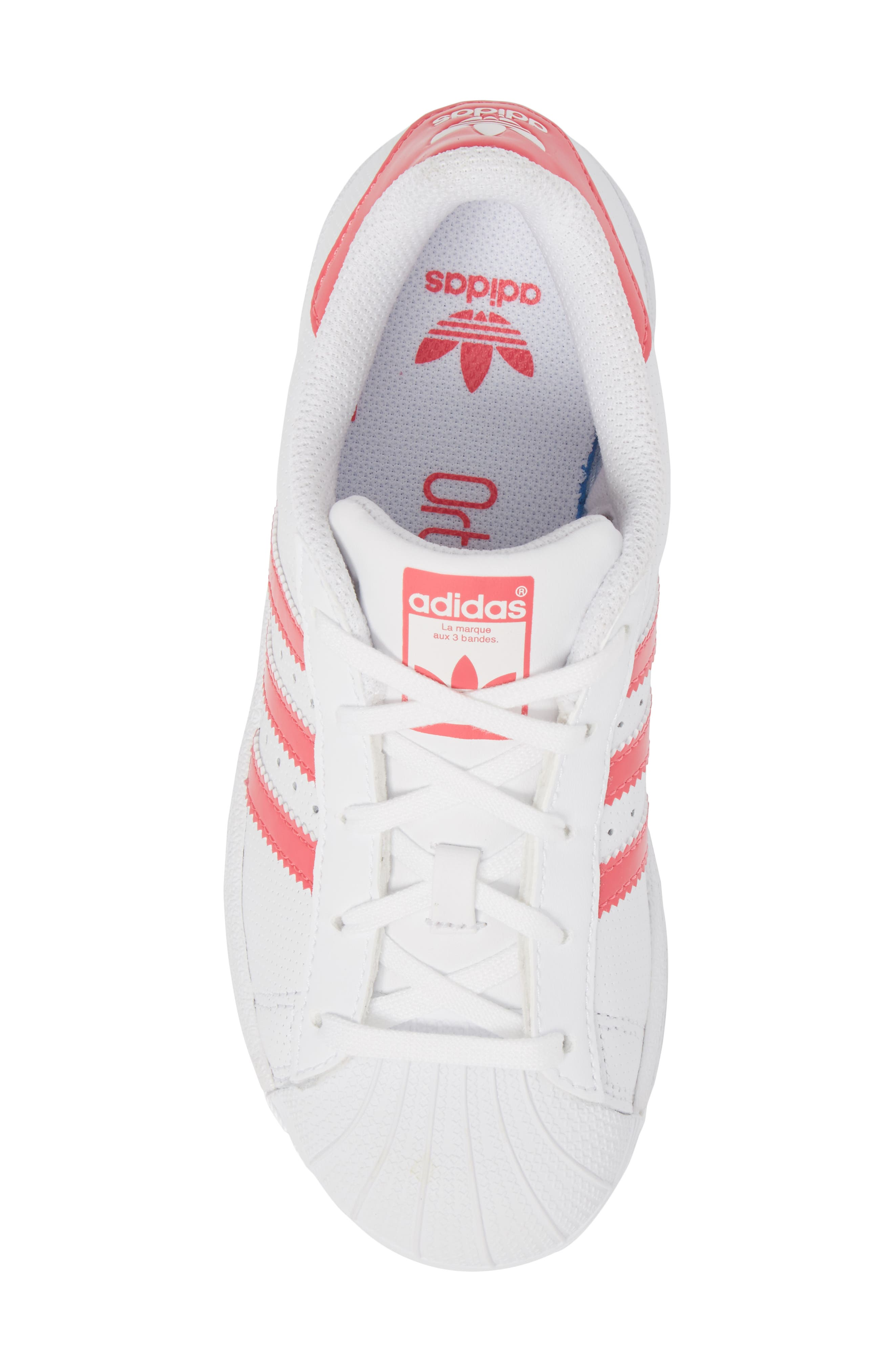 Superstar Perforated Low Top Sneaker,                             Alternate thumbnail 5, color,                             White / Real Pink / White