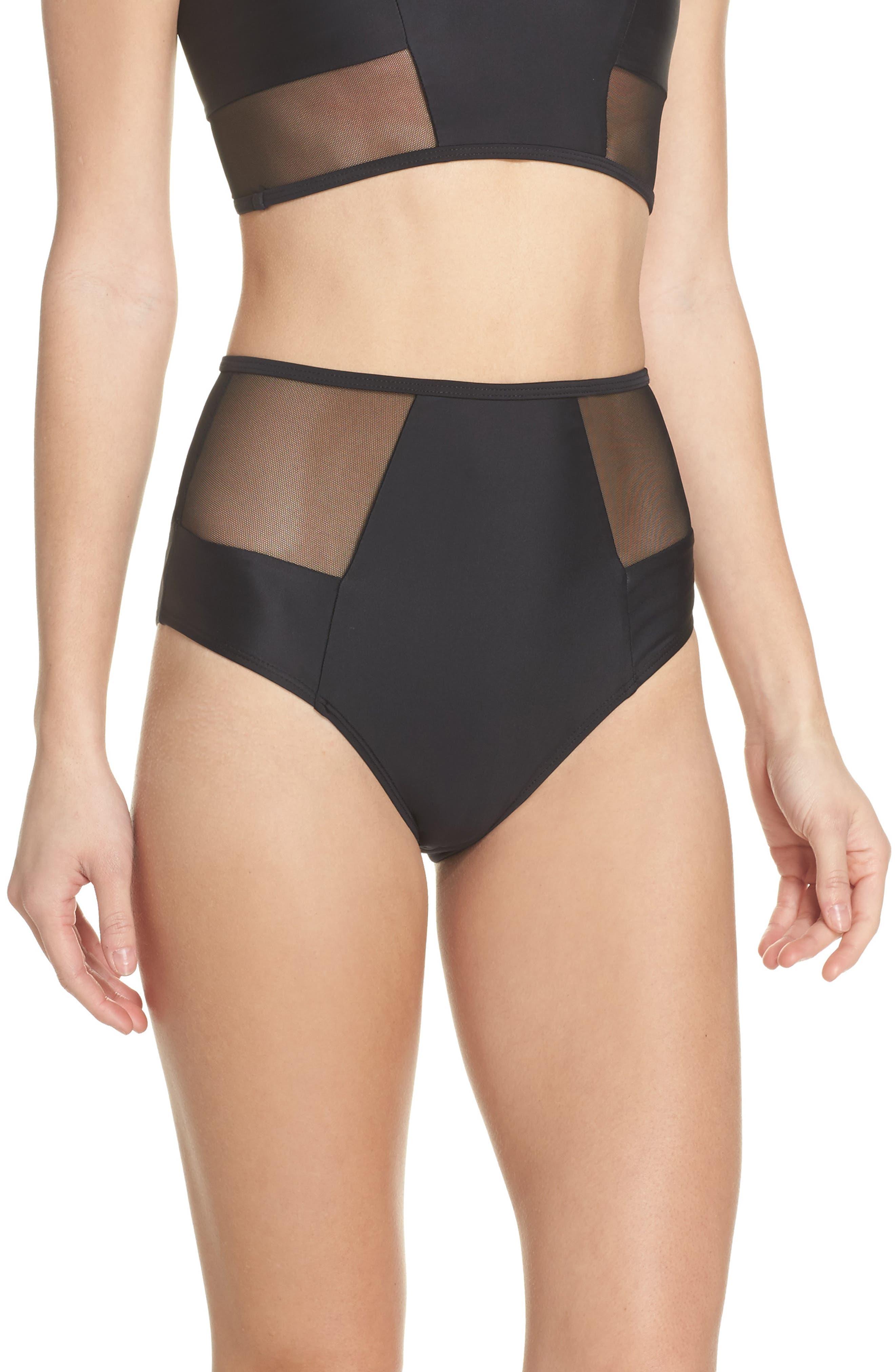 Contour High Waist Bikini Bottoms,                             Main thumbnail 1, color,                             Black