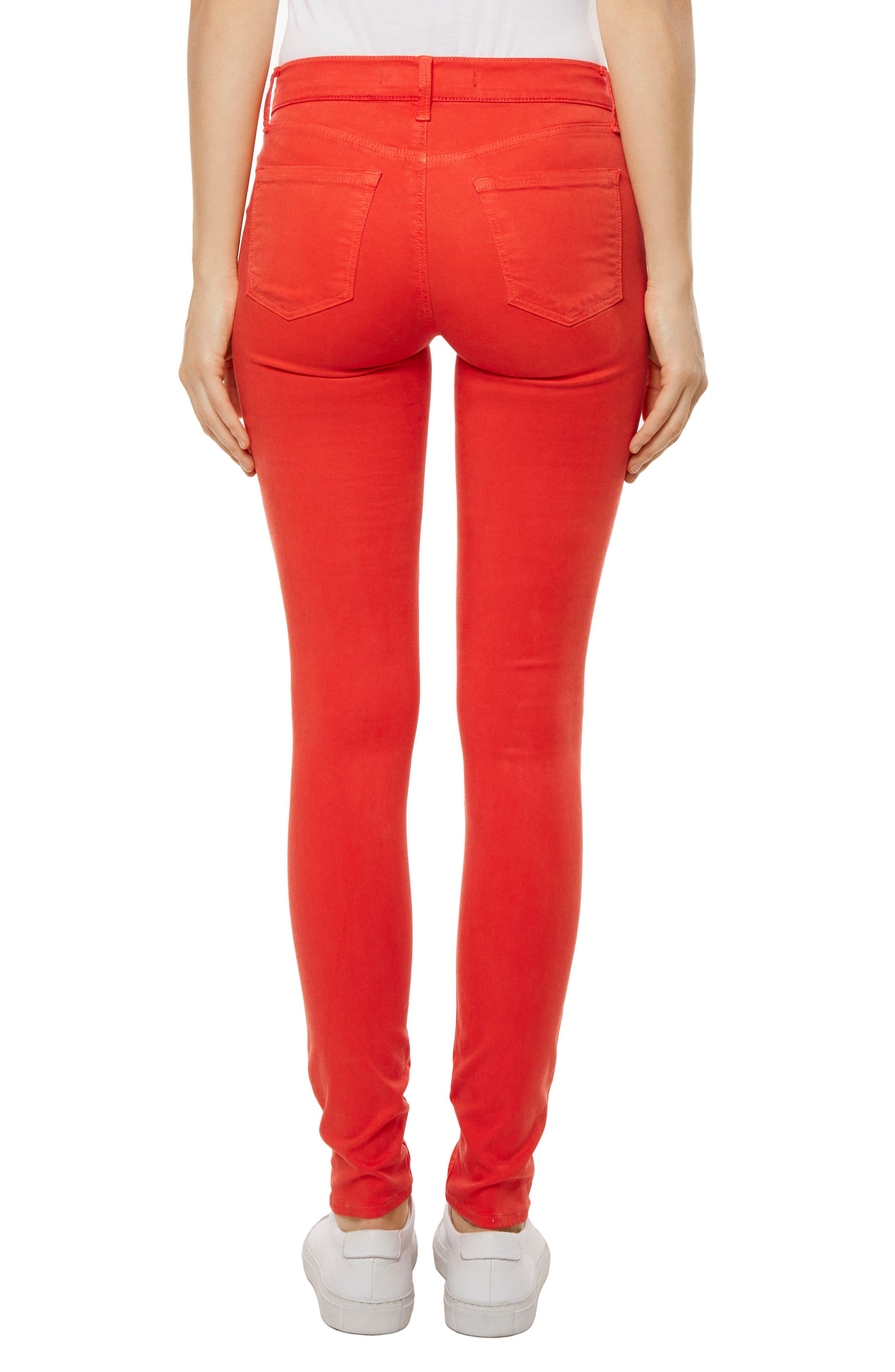 485 Mid Rise Skinny Jeans,                             Alternate thumbnail 2, color,                             Bright Coral