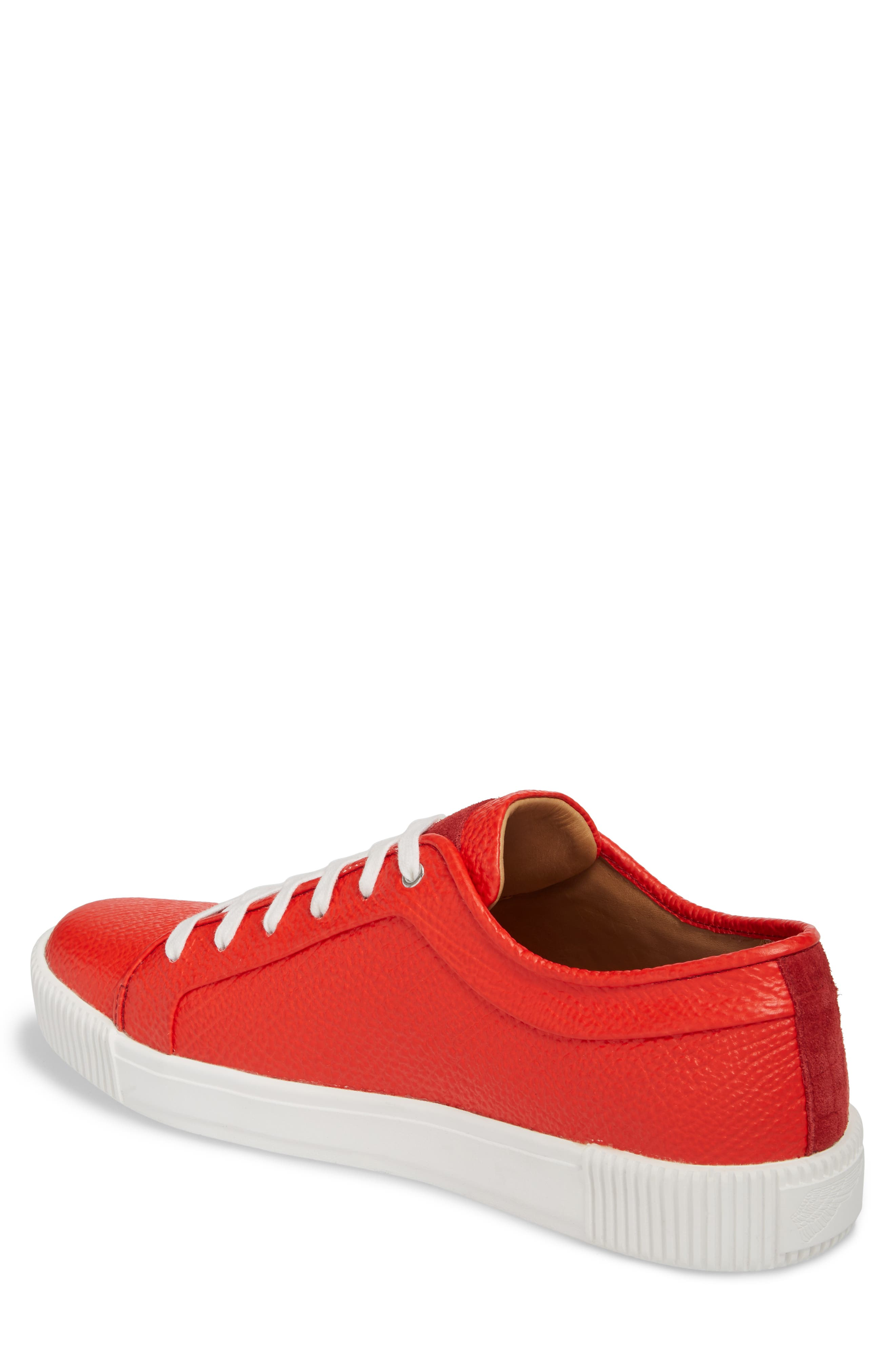 Lyons Low Top Sneaker,                             Alternate thumbnail 2, color,                             Red Leather