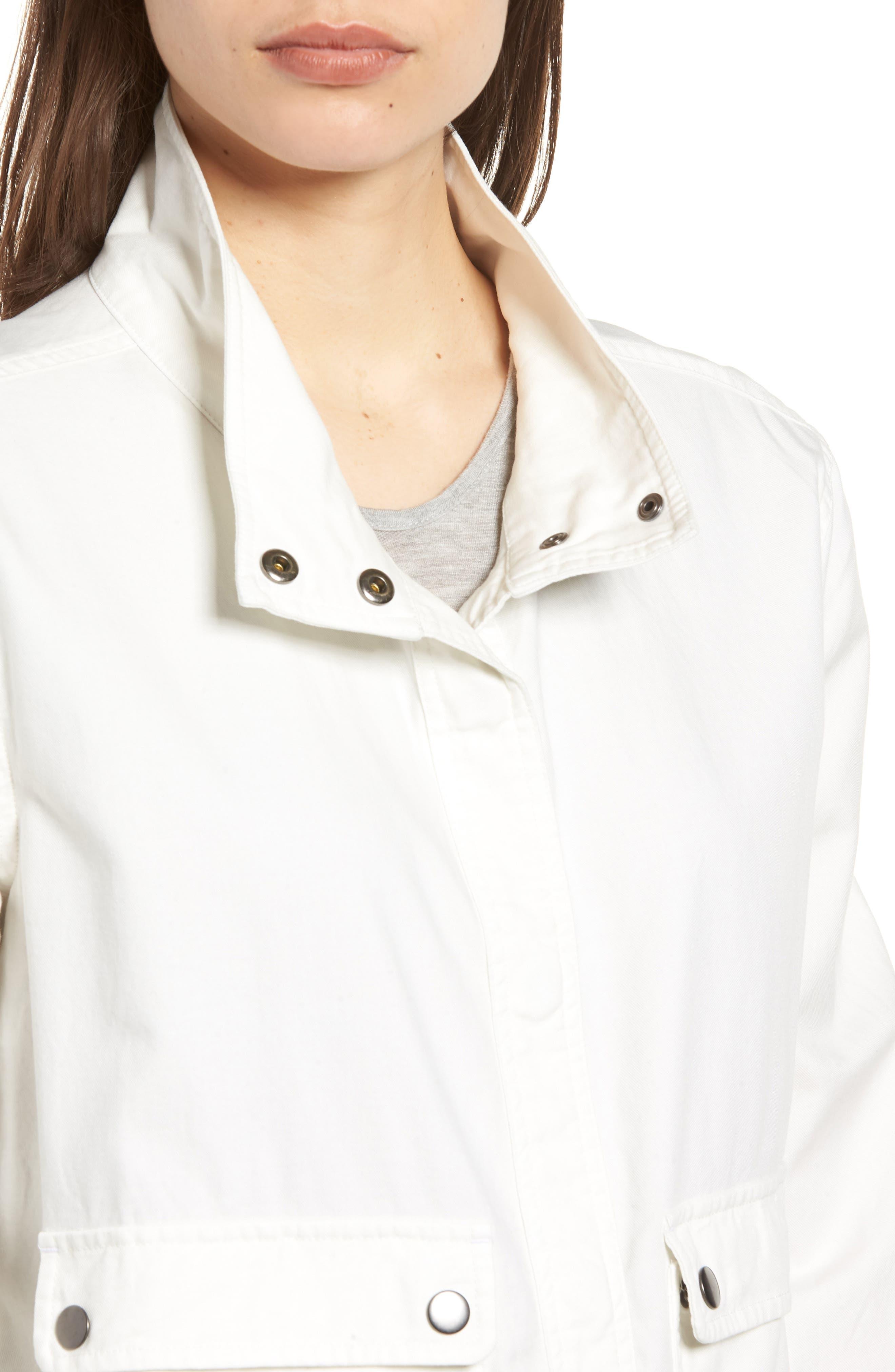 Snap Pocket Utility Jacket,                             Alternate thumbnail 4, color,                             White Snow