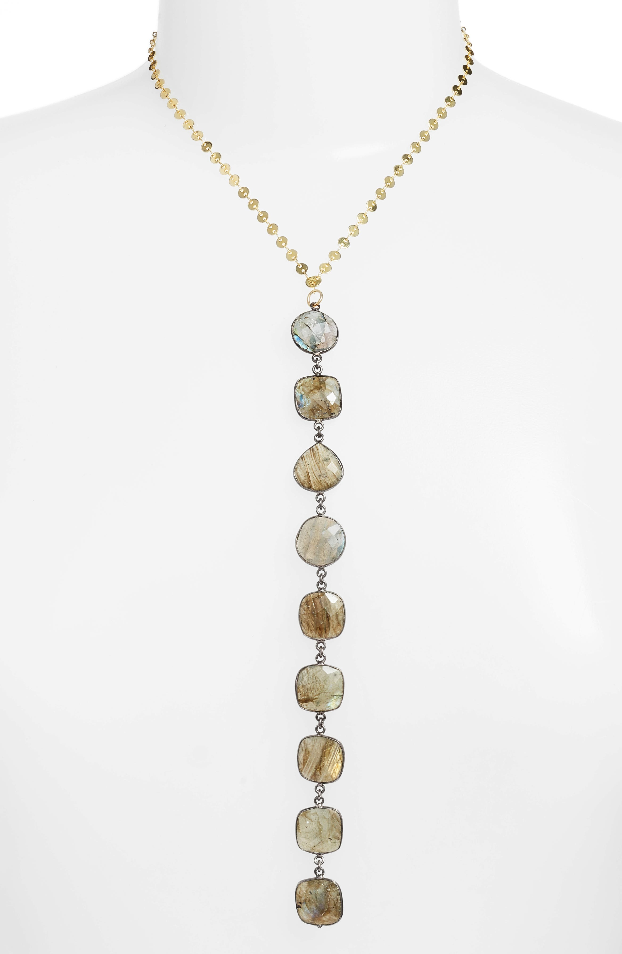 Mystere Labradorite Y-Necklace,                             Main thumbnail 1, color,                             Gold/ Grey