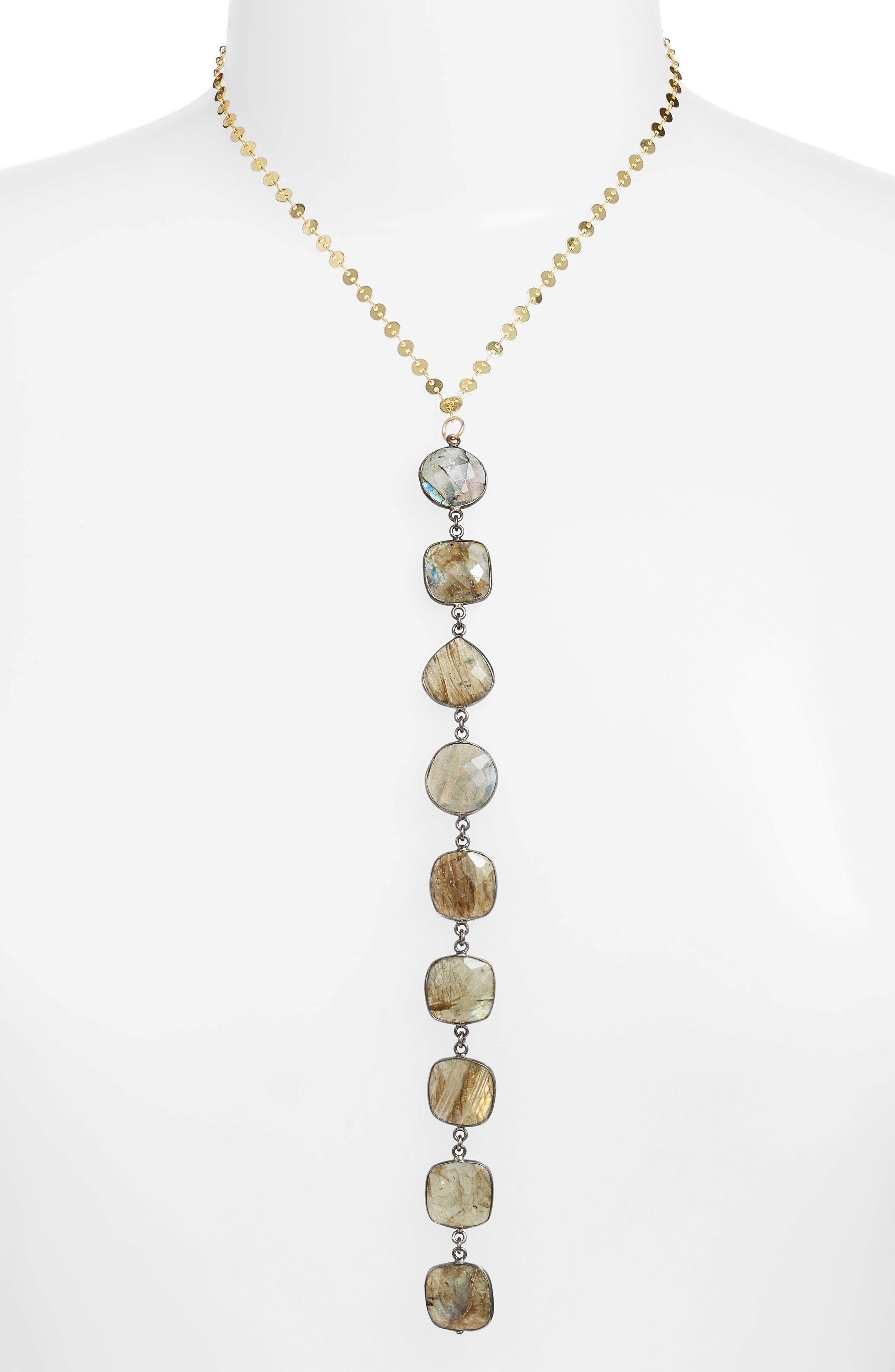Mystere Labradorite Y-Necklace,                         Main,                         color, Gold/ Grey