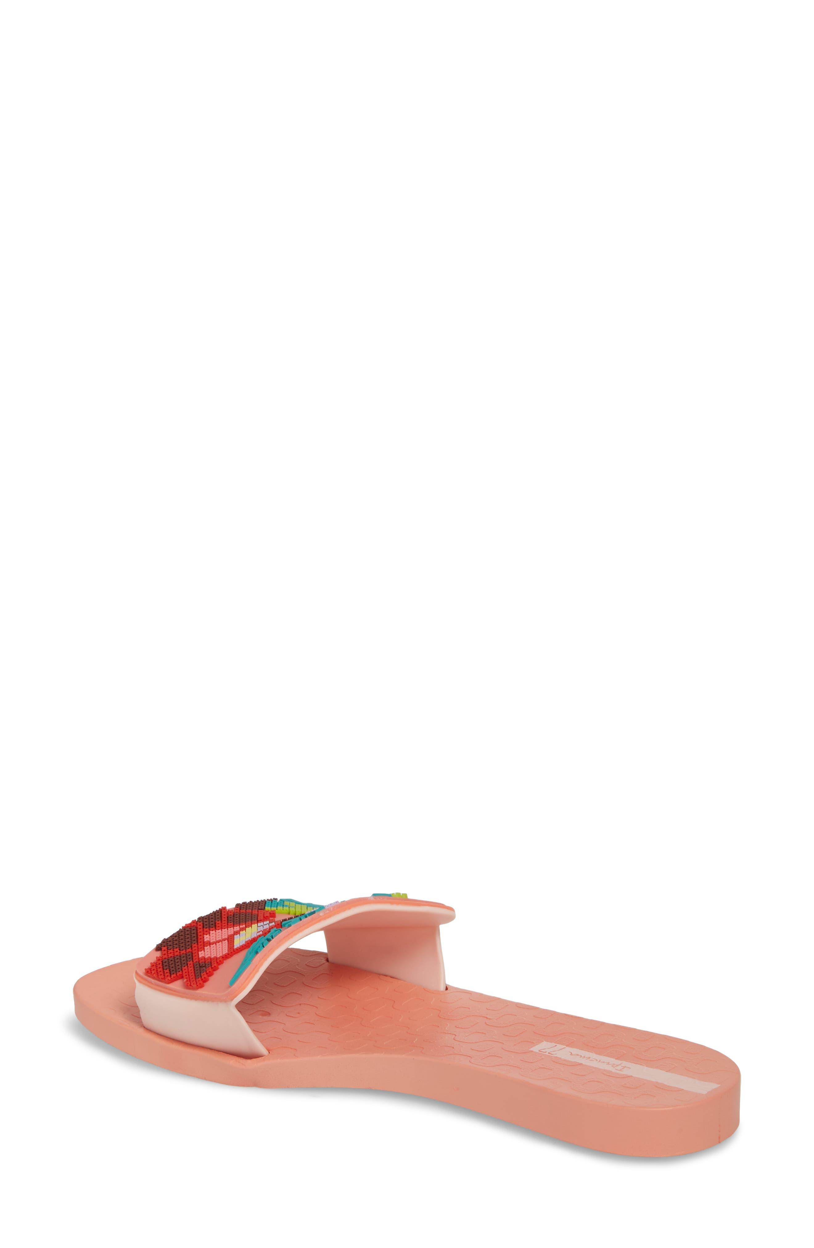 Nectar Floral Slide Sandal,                             Alternate thumbnail 2, color,                             Orange/ Pink