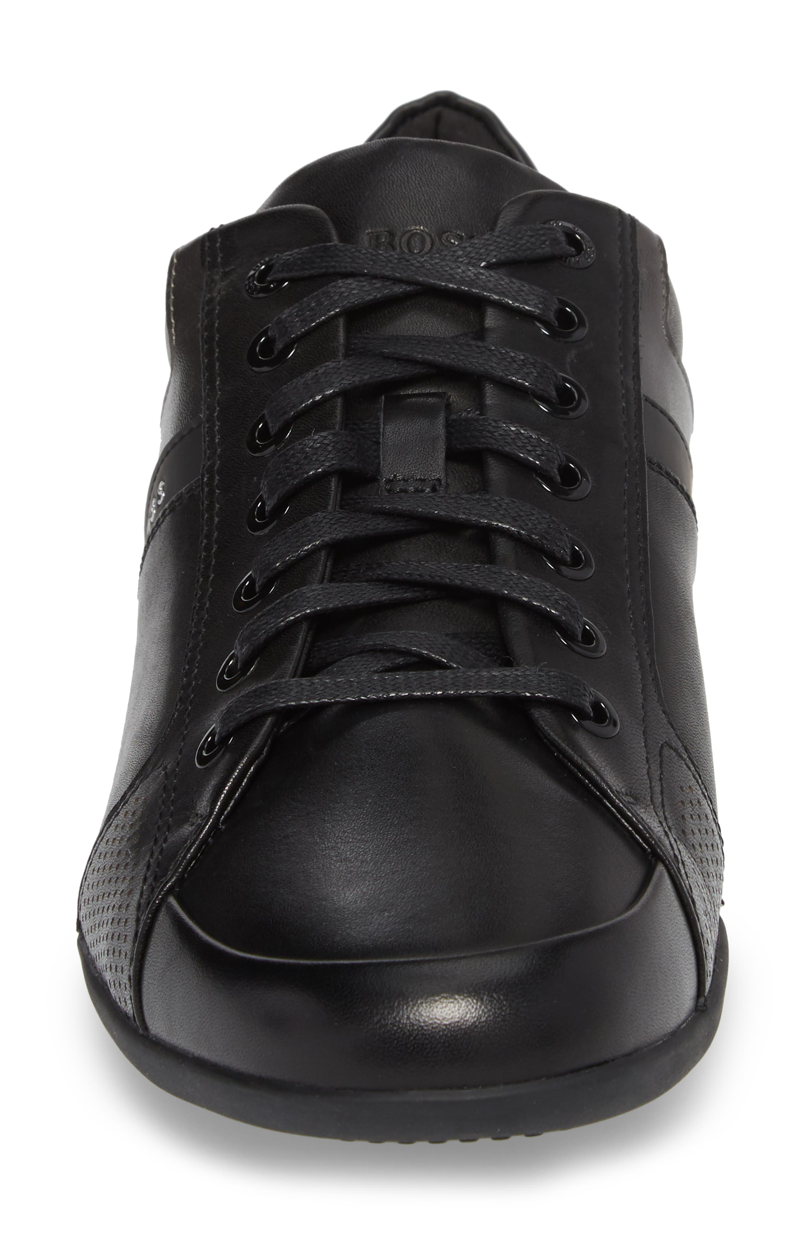 Space Lowp Lux Sneaker,                             Alternate thumbnail 4, color,                             Black Leather