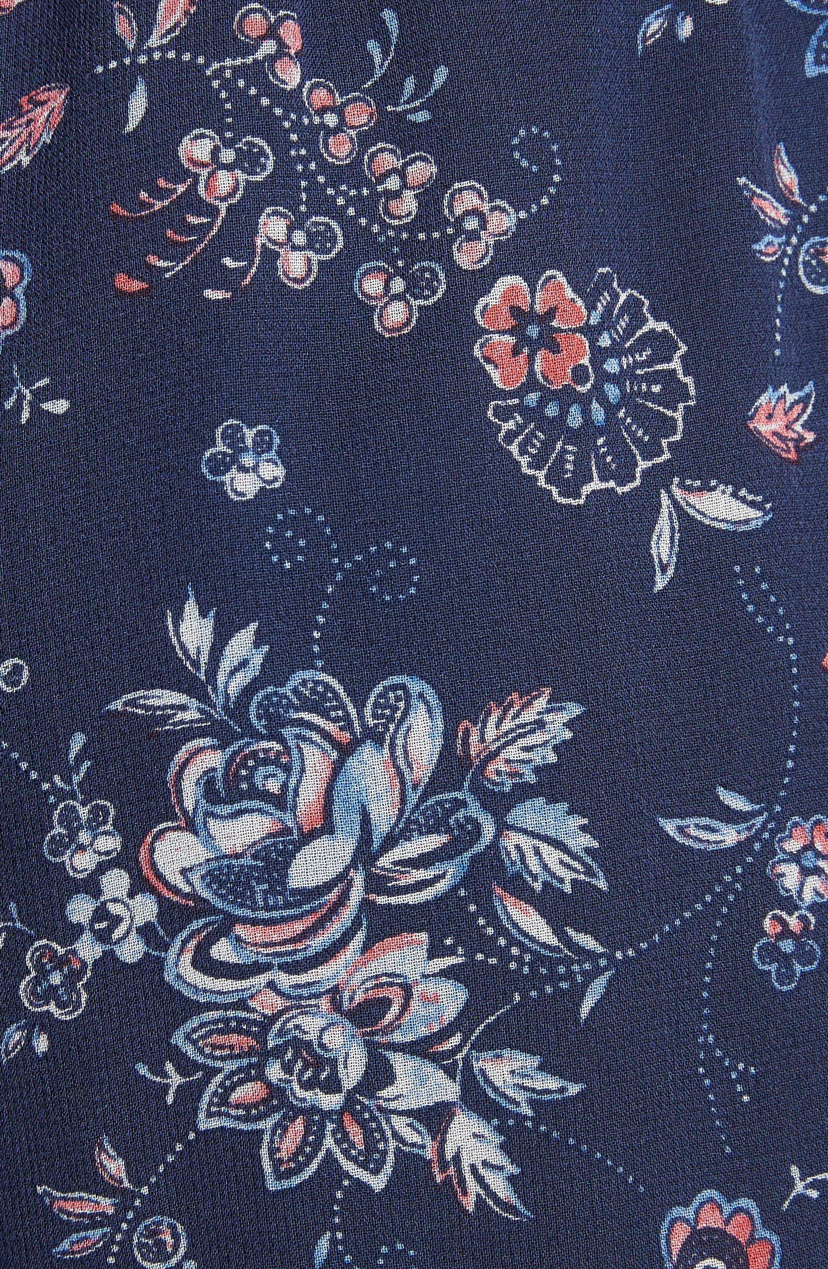 Ciri Floral Silk Shorts,                             Alternate thumbnail 5, color,                             Dark Navy
