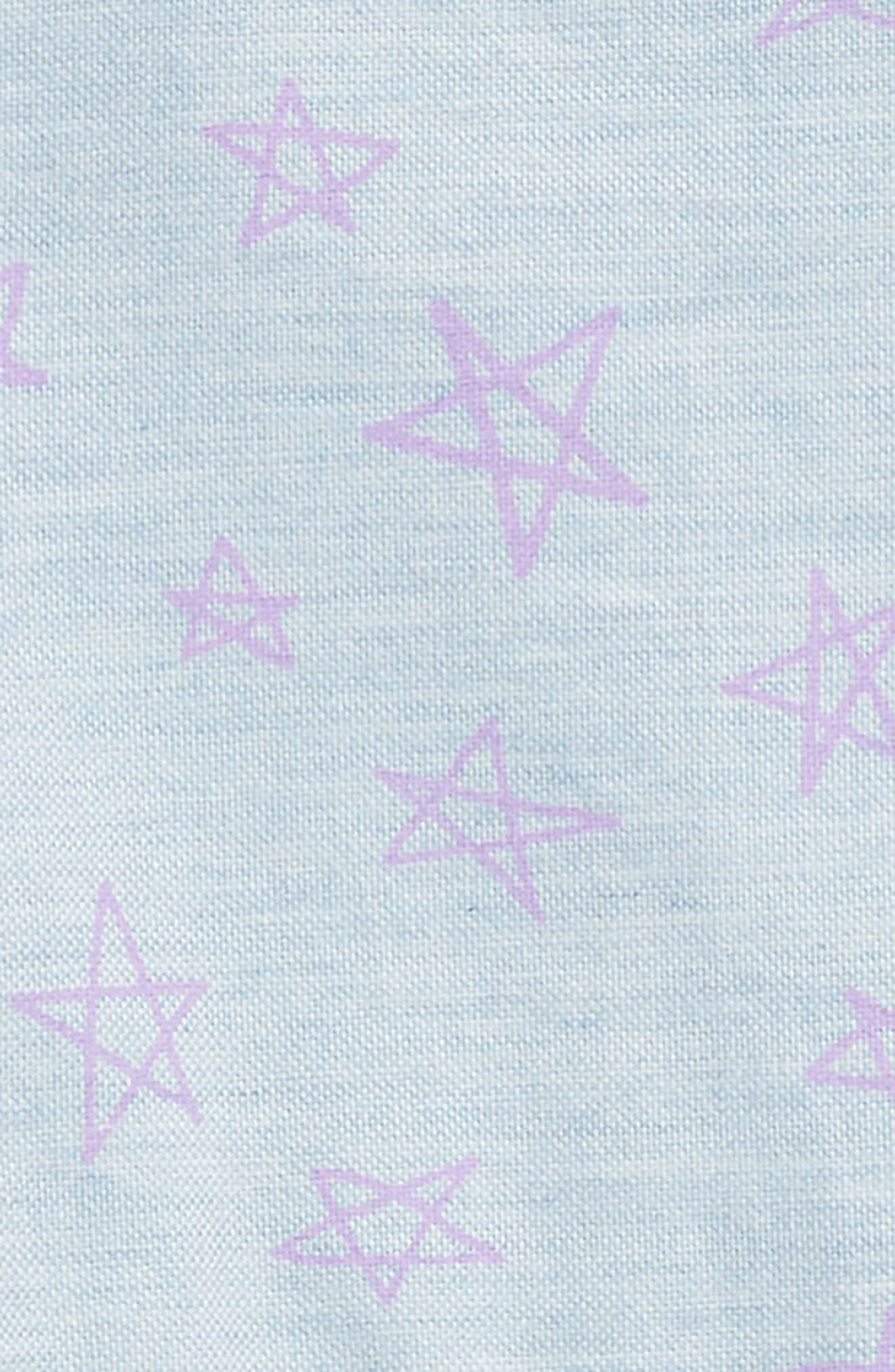 Layla Star Chambray Romper,                             Alternate thumbnail 2, color,                             Chambray With Purple Stars