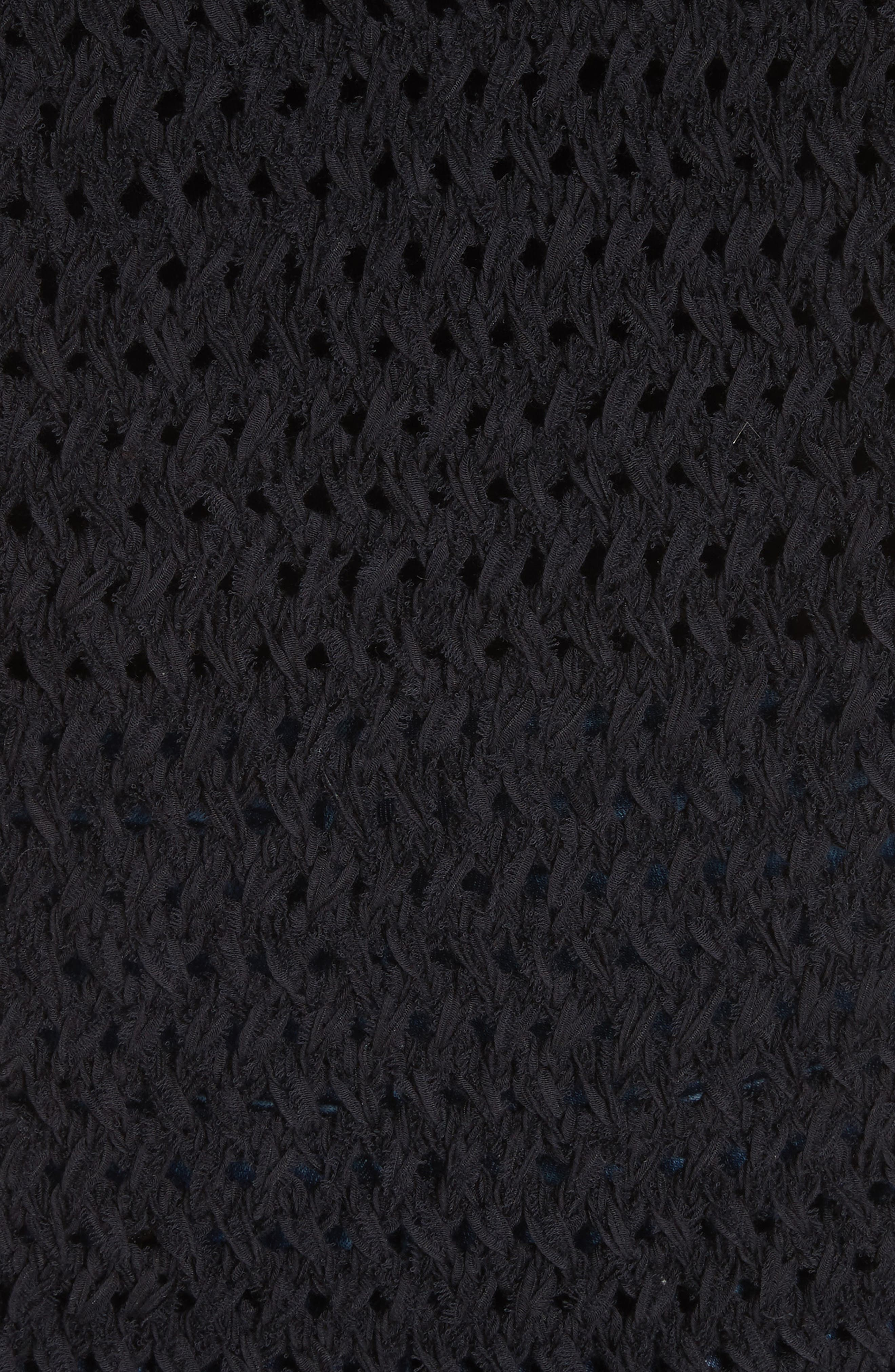 Crisscross Open Stitch Cold Shoulder Sweater,                             Alternate thumbnail 6, color,                             Caviar