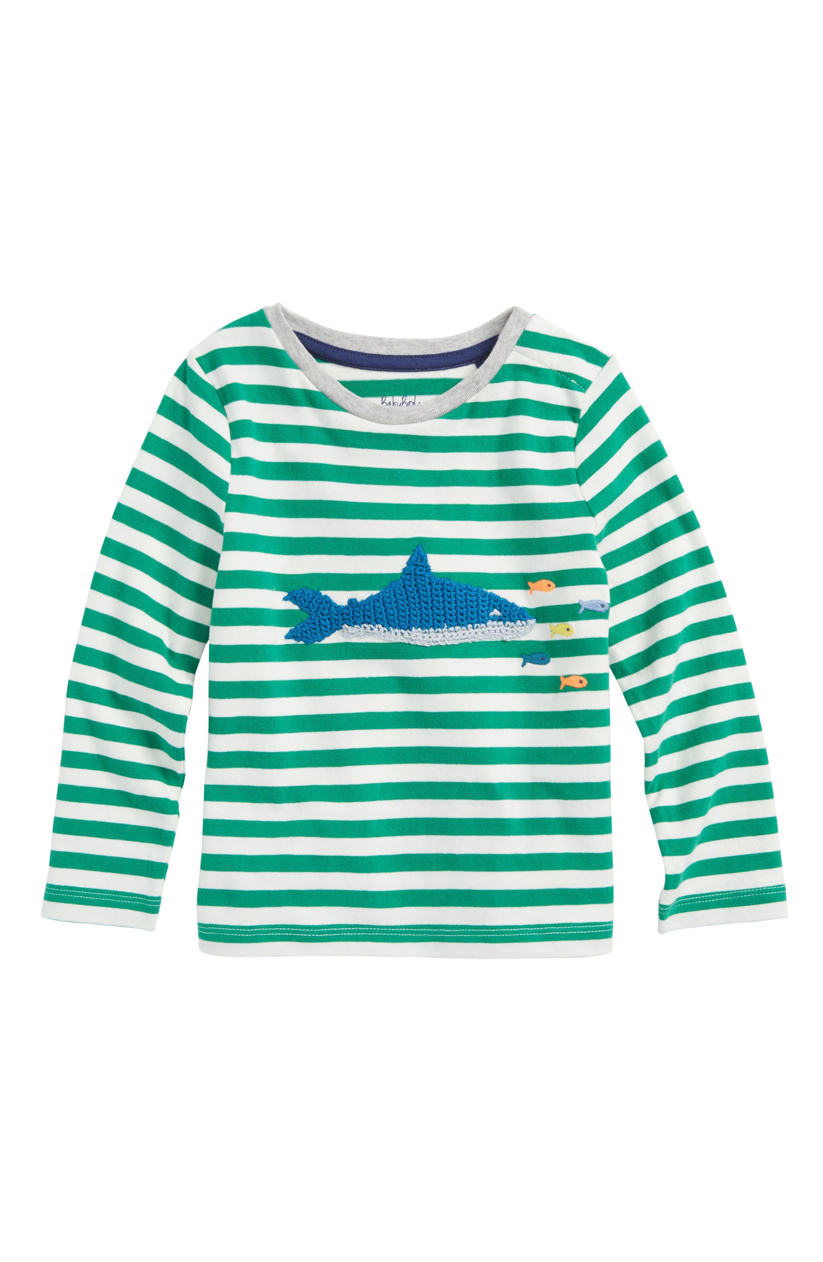 Stripy Crochet Appliqué T-Shirt,                             Main thumbnail 1, color,                             Ecru/ Watercress