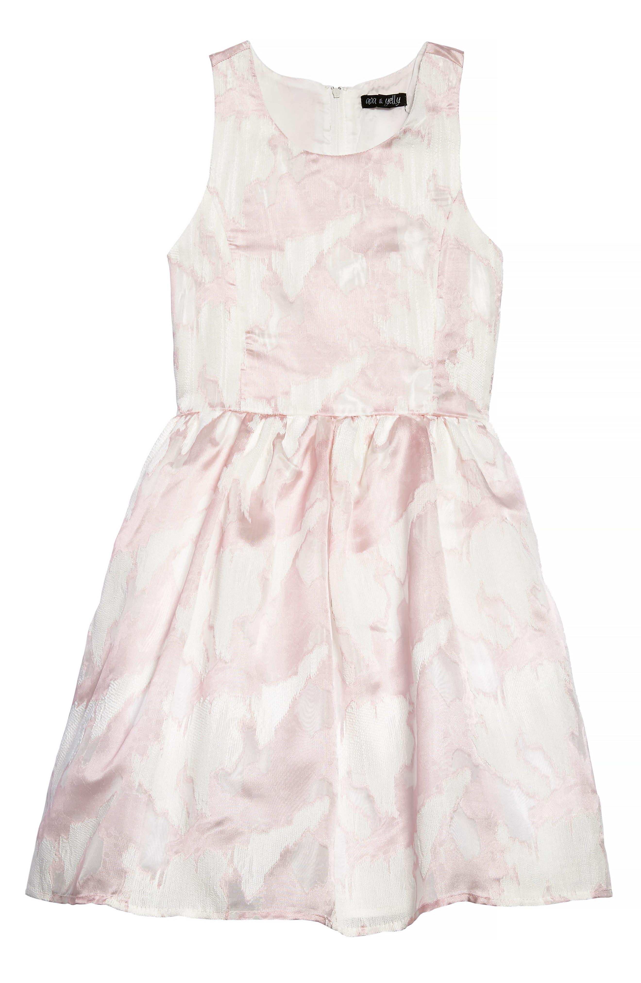 Chiffon Party Dress,                         Main,                         color, Pink/ White