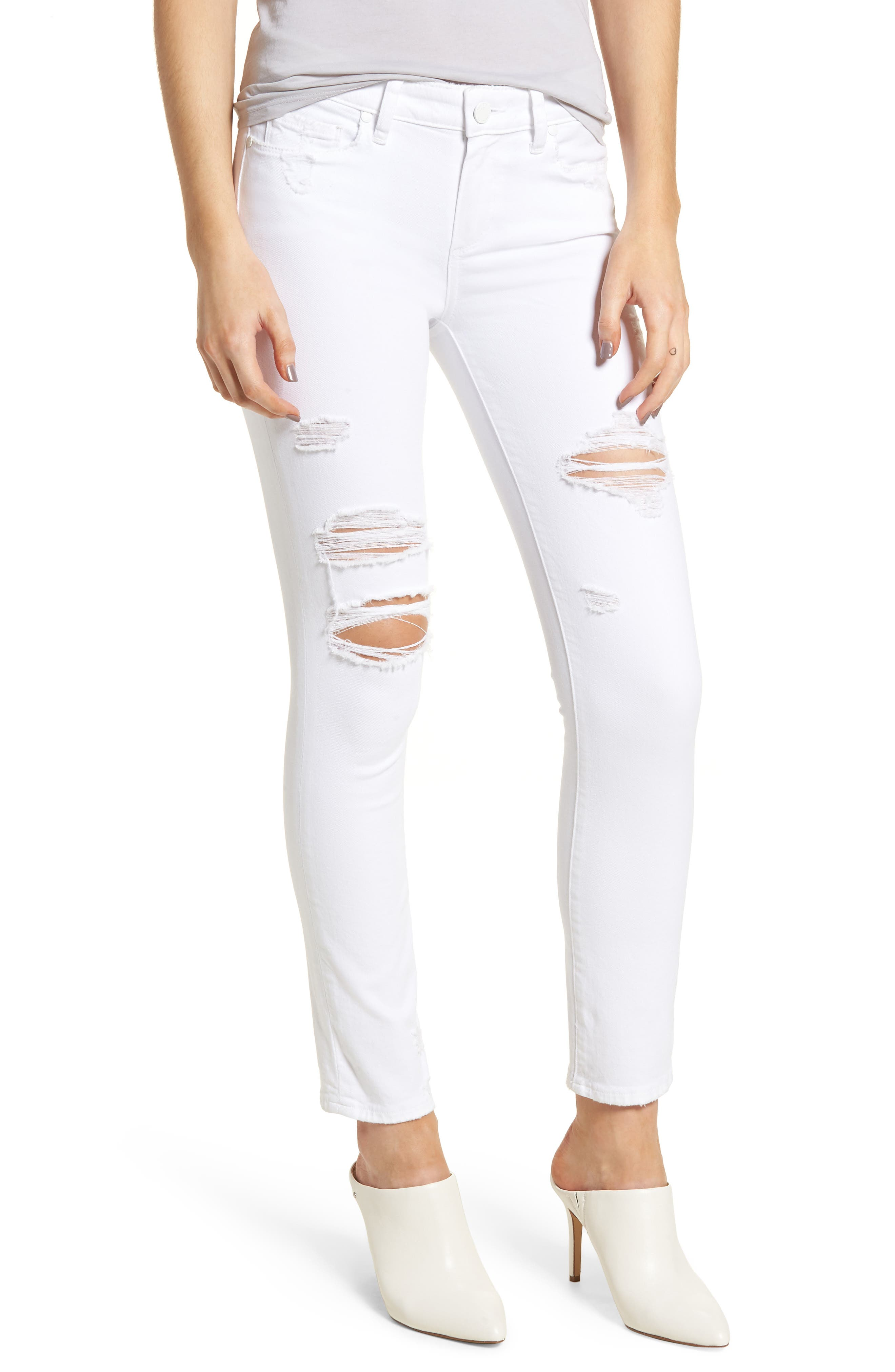 PAIGE Skyline Ripped Ankle Skinny Jeans (Bright White Destructed)