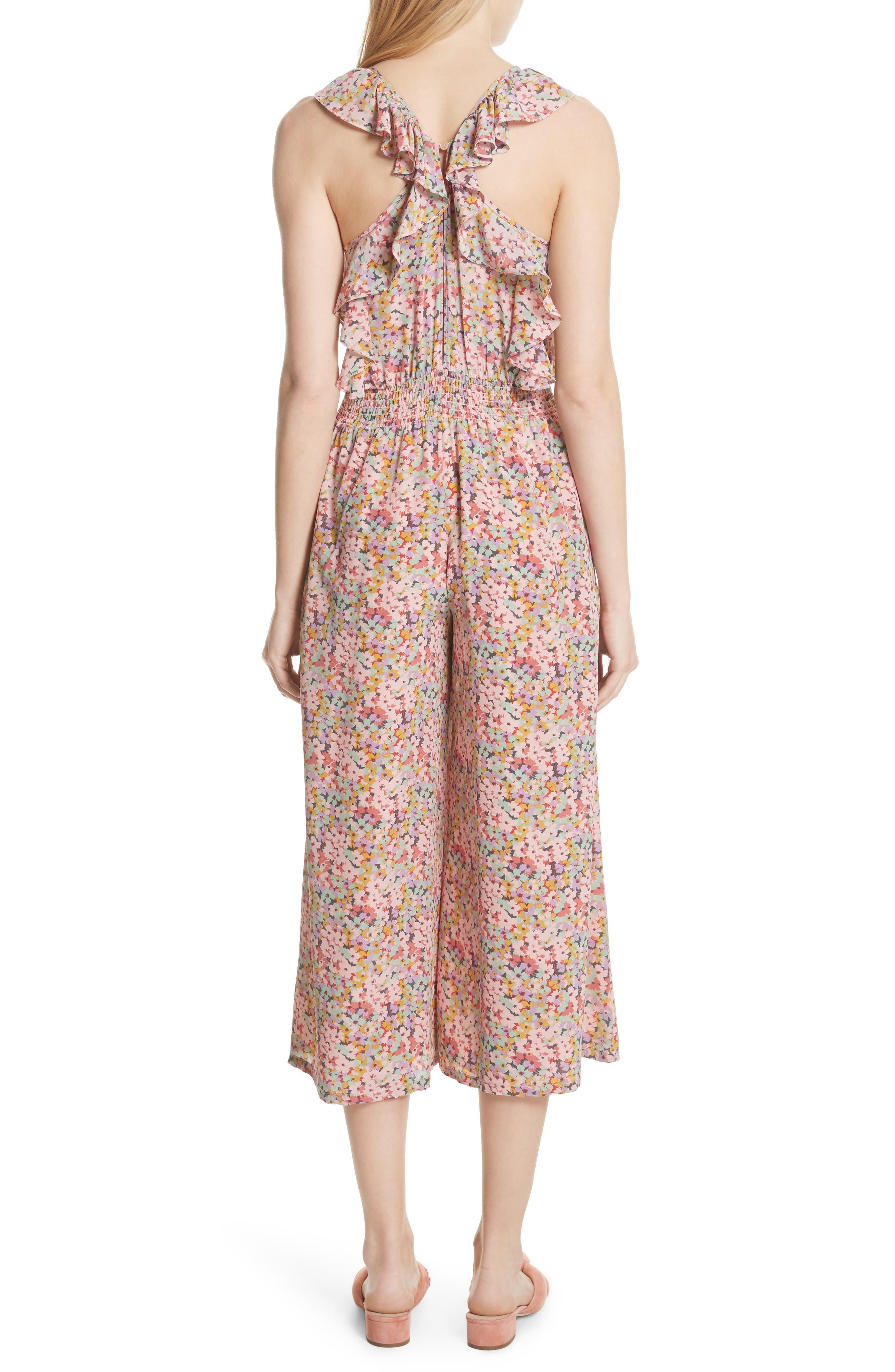 Margo Halter Top Floral Silk Jumpsuit,                             Alternate thumbnail 2, color,                             Multi Combo