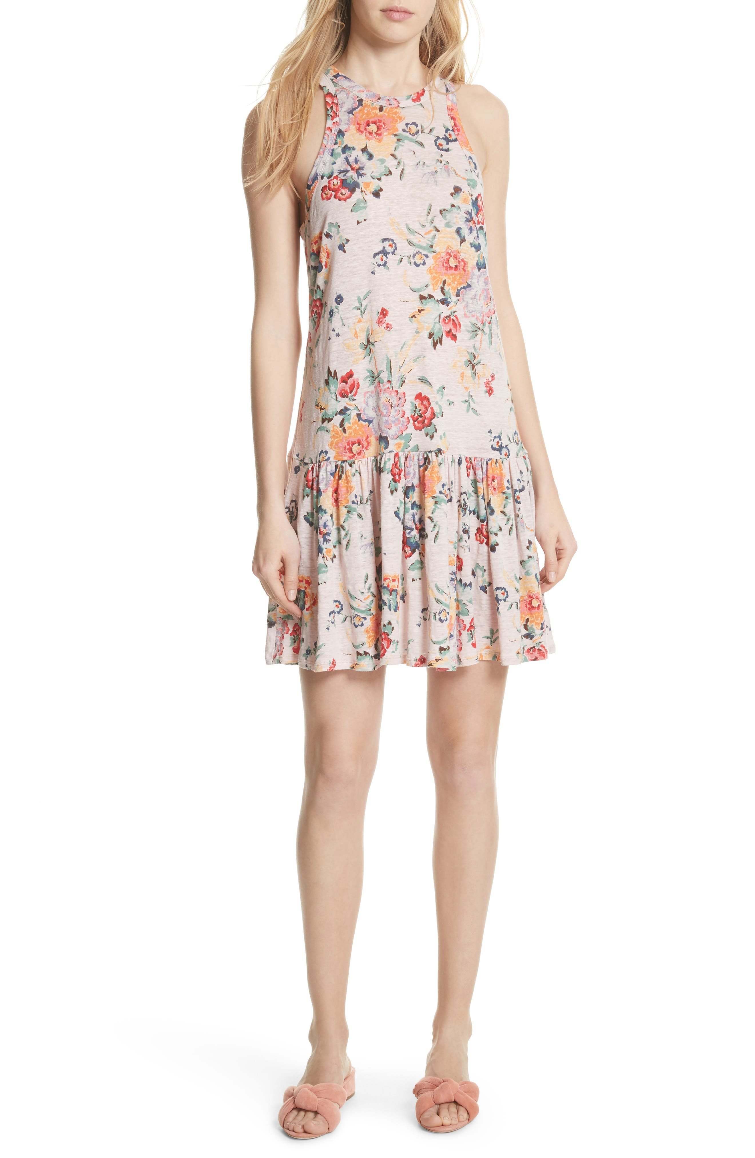 Marlena Floral Jersey Dress,                             Main thumbnail 1, color,                             Dusty Rose Combo