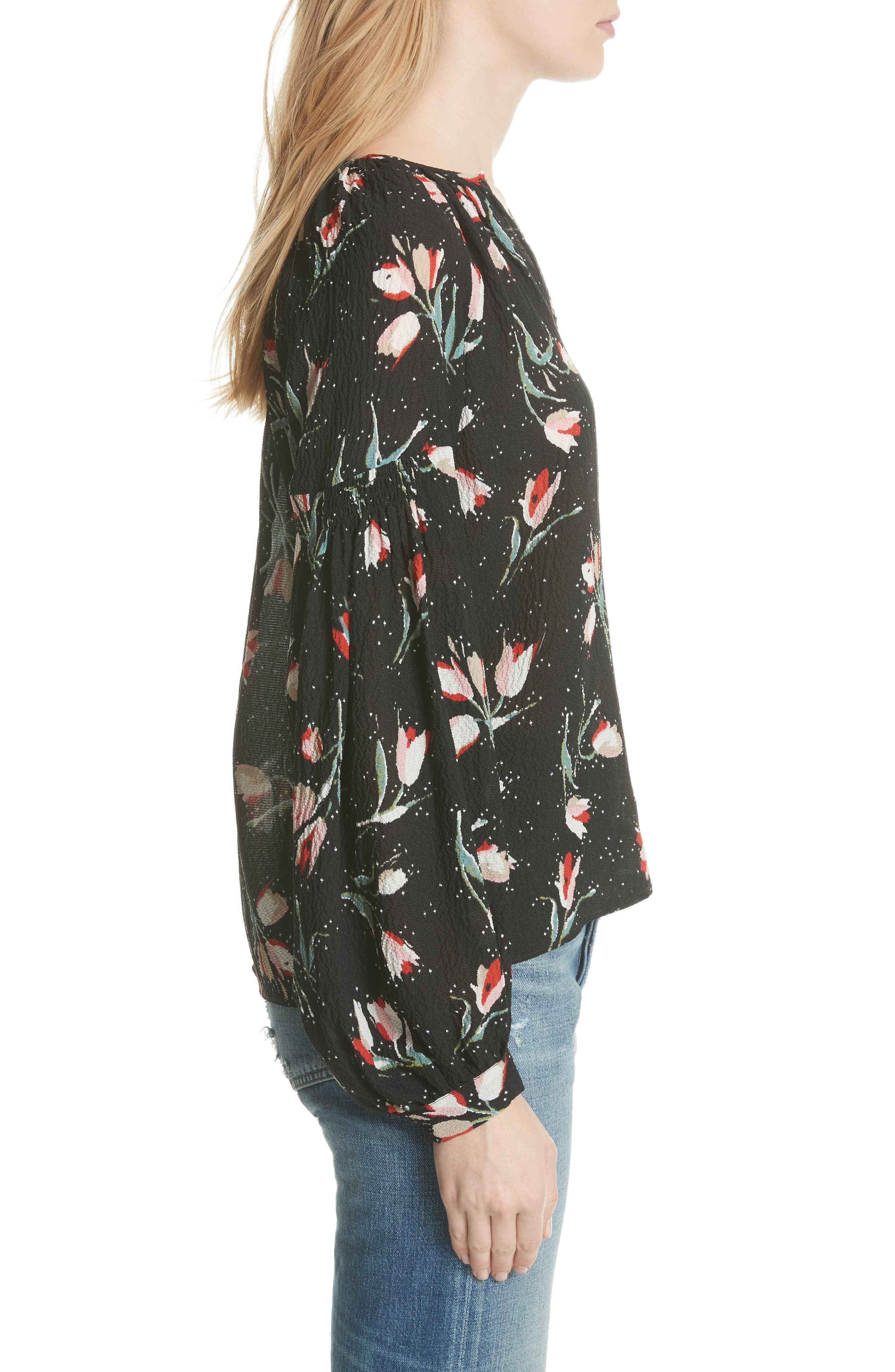 Stretch Silk Floral Top,                             Alternate thumbnail 3, color,                             Black Combo