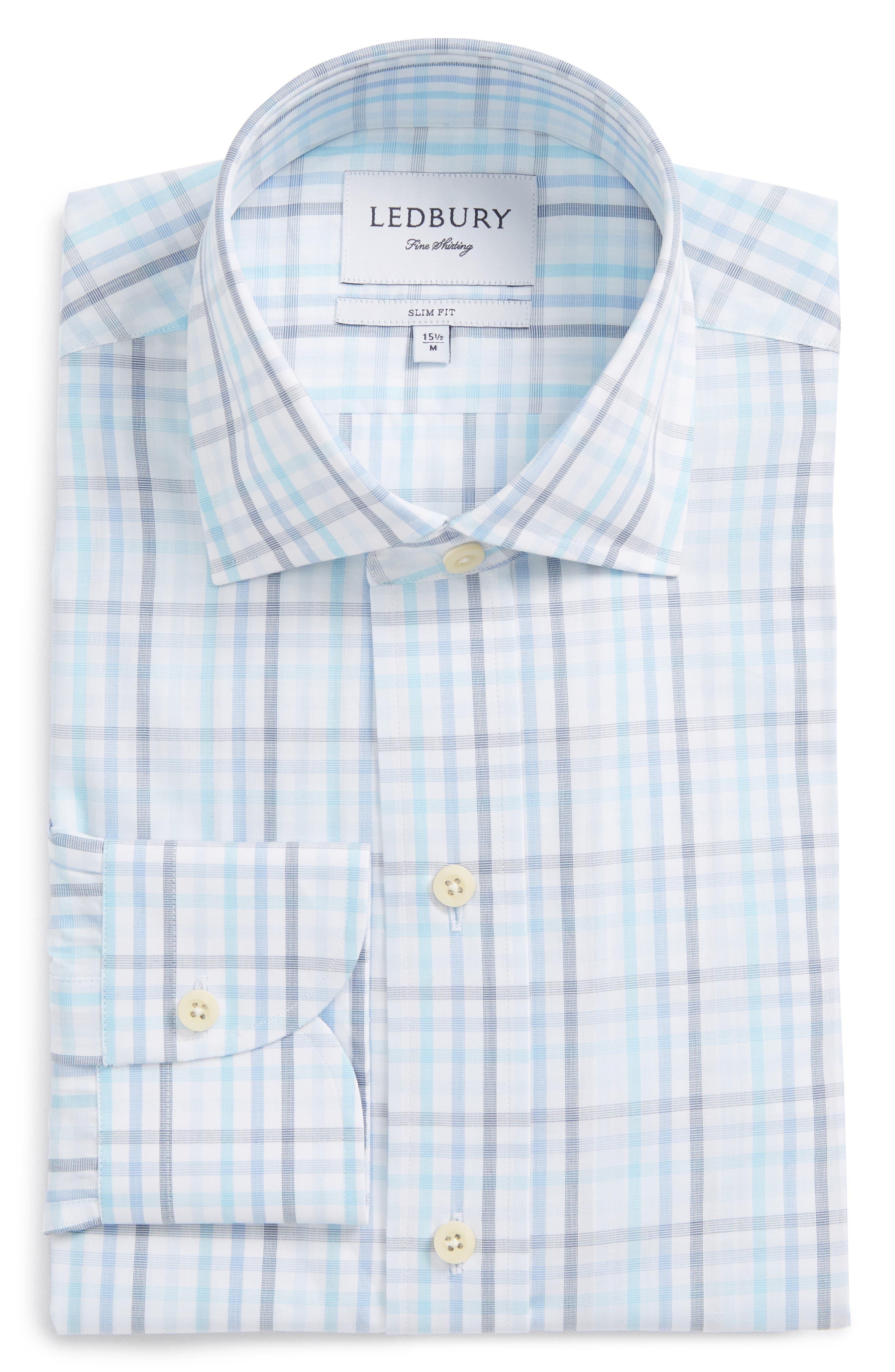 Pelton Slim Fit Check Dress Shirt,                             Alternate thumbnail 6, color,                             Turquoise/ Aqua