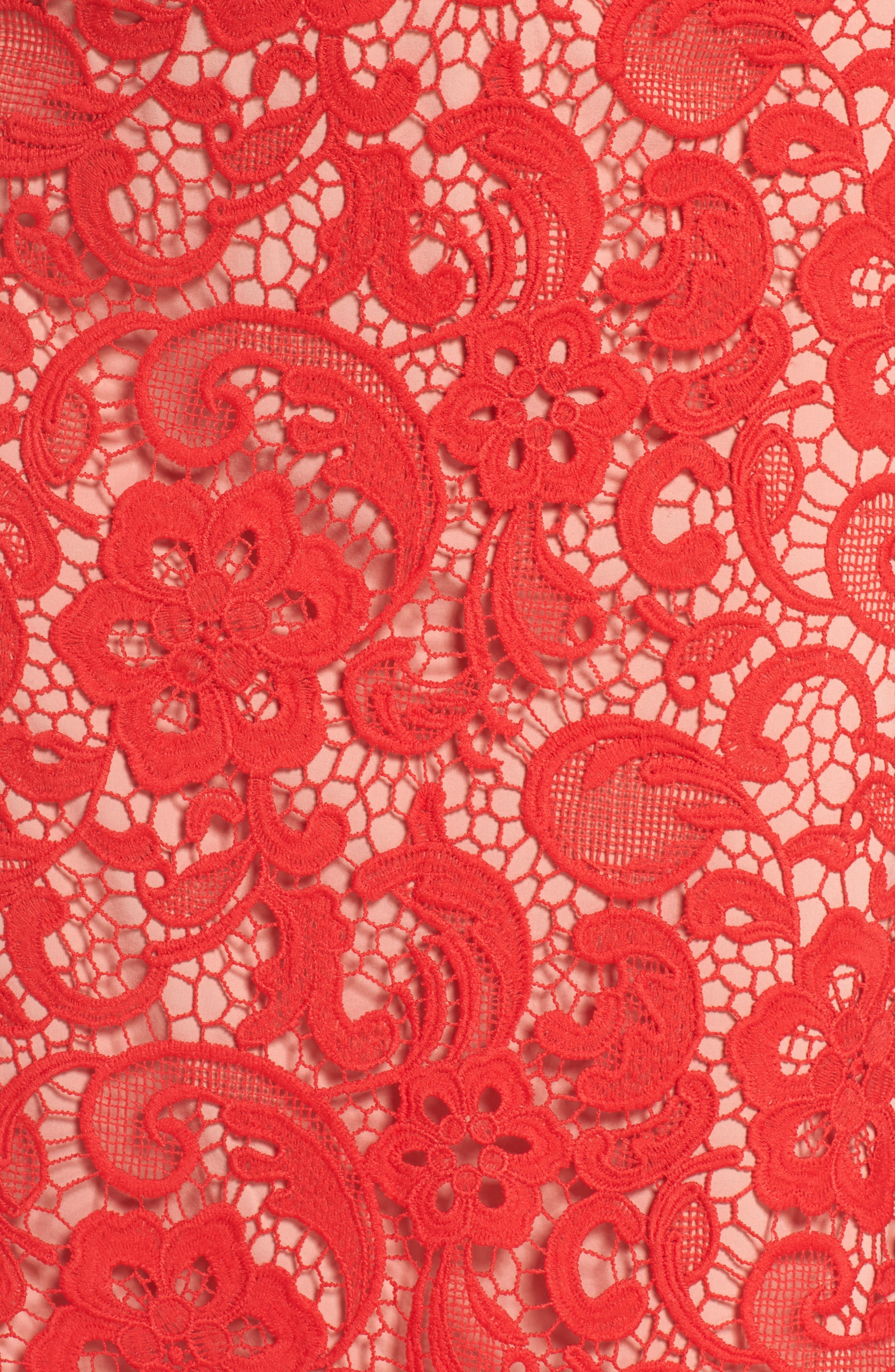 Carnation Lace Dress,                             Alternate thumbnail 5, color,                             Red Fiery