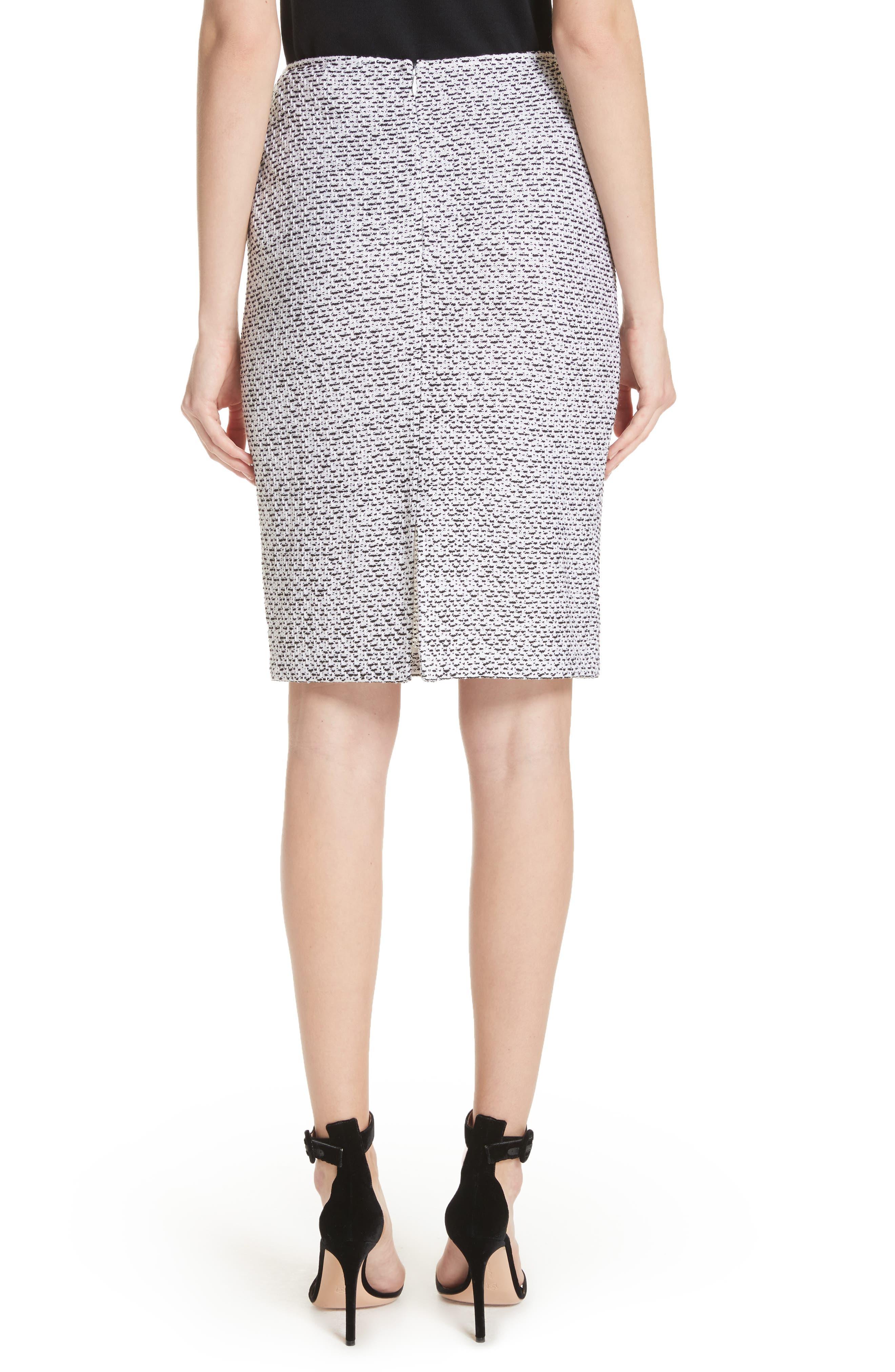 Olivia Bouclé Knit Skirt,                             Alternate thumbnail 2, color,                             White/ Caviar