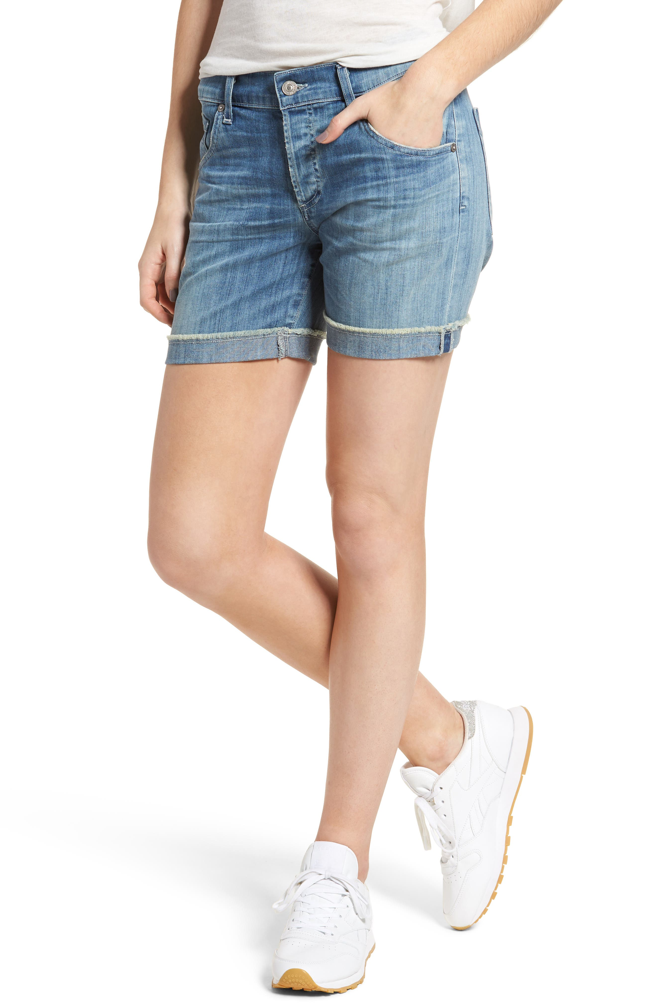 Skyler Denim Shorts,                         Main,                         color, Mercury