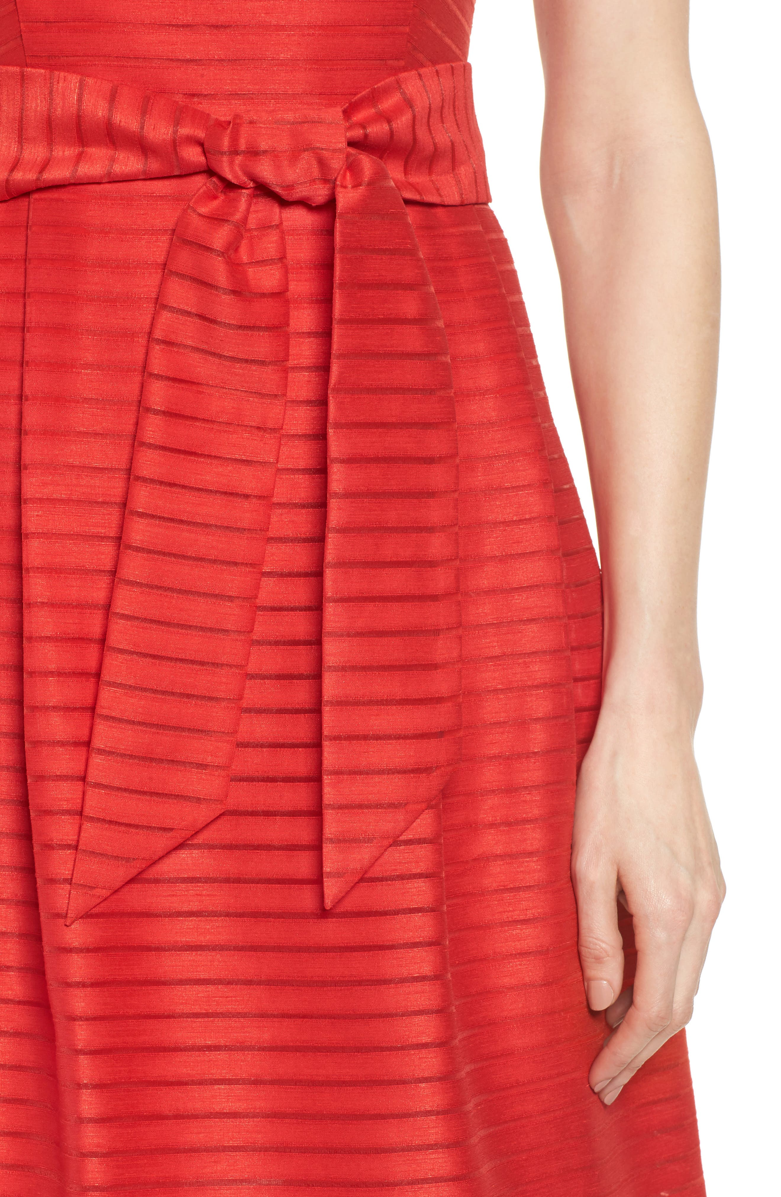 Shadow Stripe Fit & Flare Dress,                             Alternate thumbnail 4, color,                             Tomato