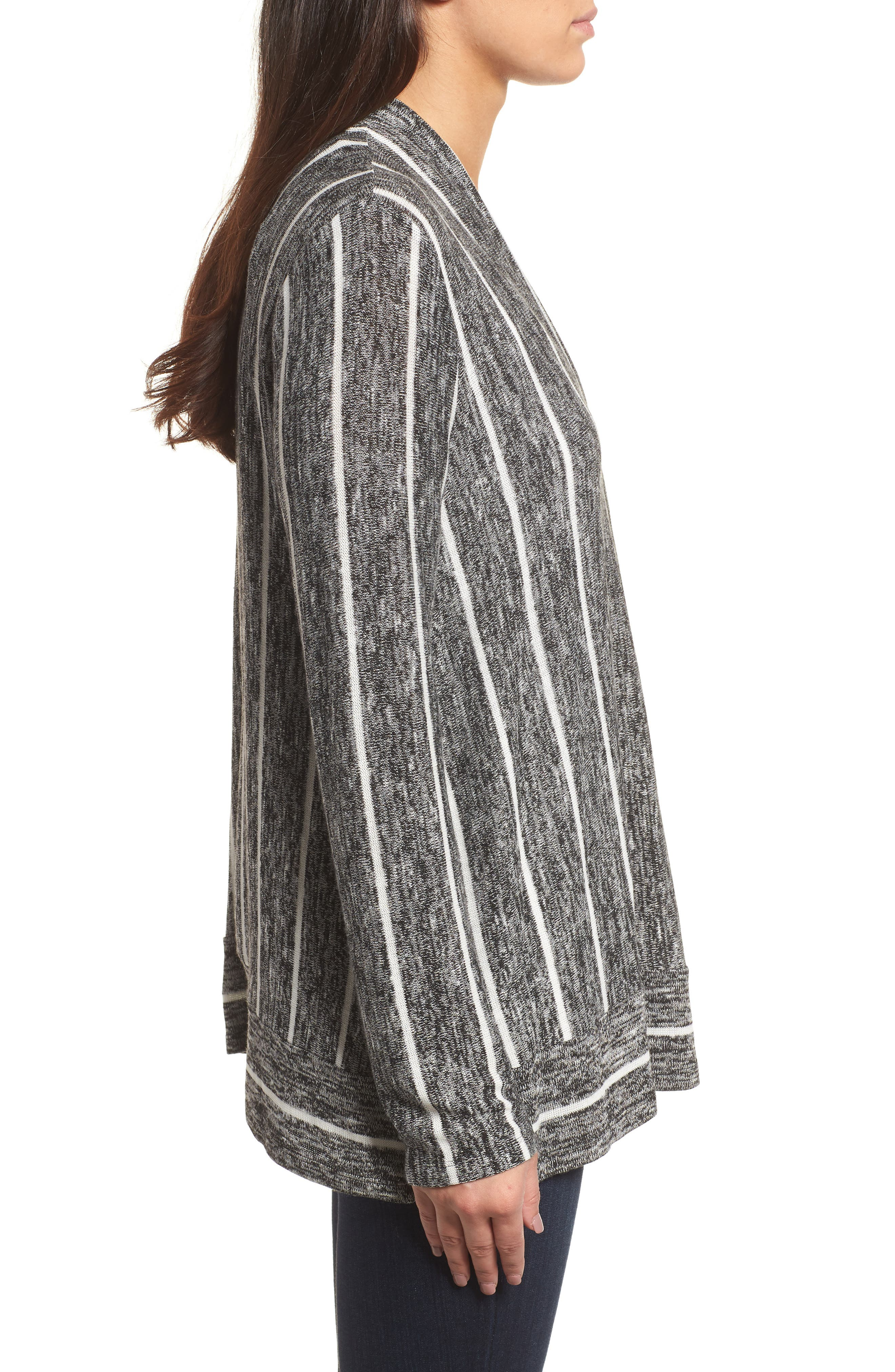 Marled Stripe Open Front Cardigan,                             Alternate thumbnail 3, color,                             060-Rich Black