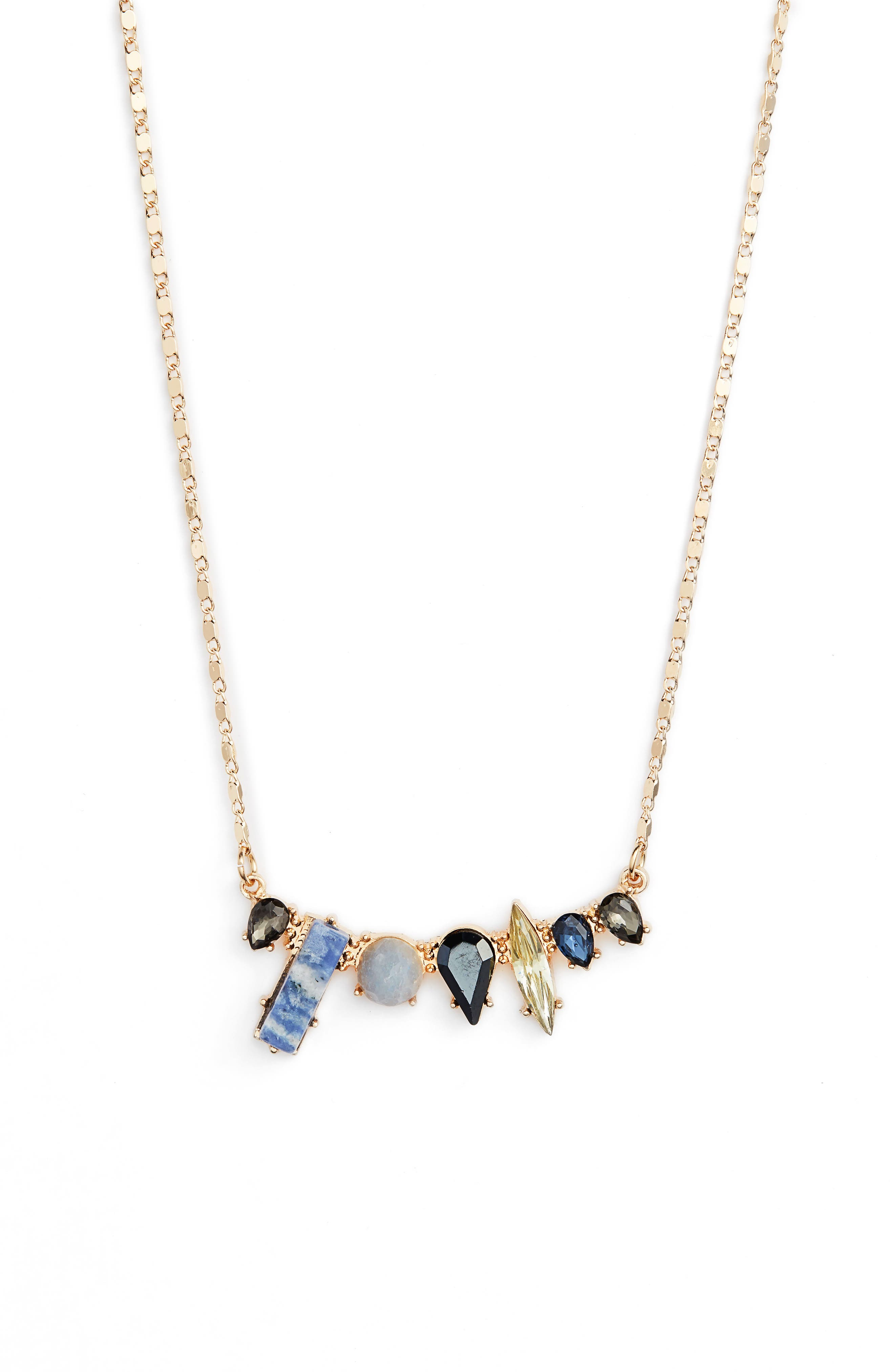 Lapis & Crystal Mini Statement Necklace,                         Main,                         color, Gold/ Blue/ Black