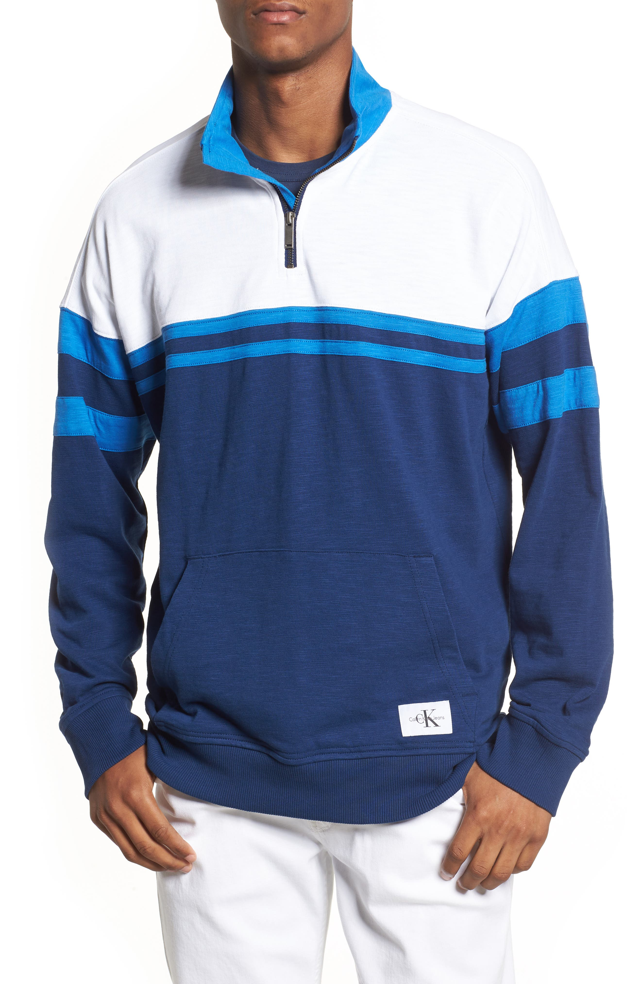 Quarter-Zip Rugby Shirt,                         Main,                         color, Night Rider